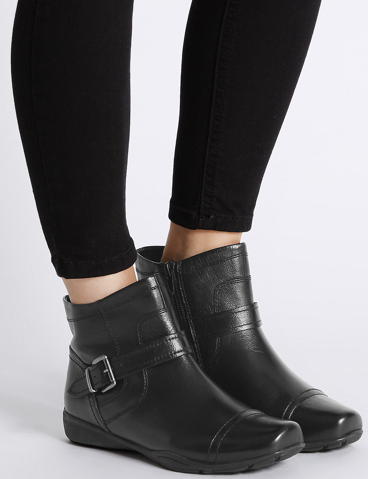 Footglove Wide Fit Leather Wedge Strap Ankle Boots