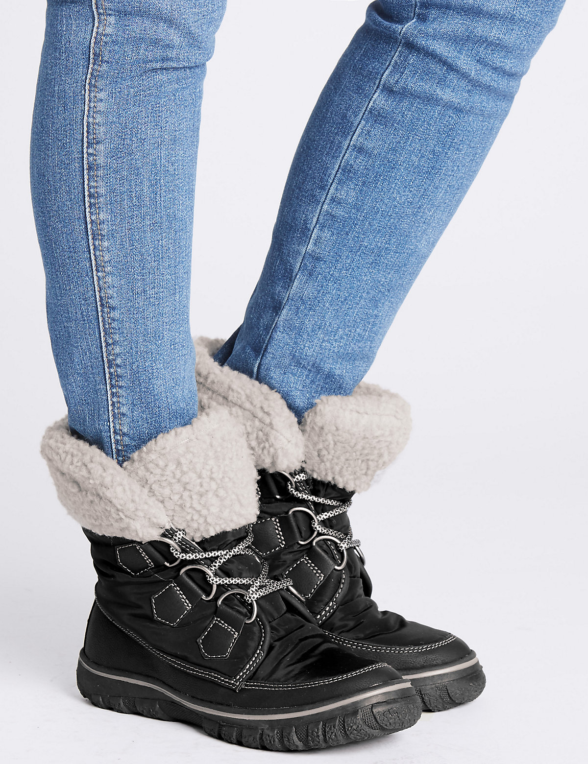 M&S Collection Waterproof Faux Fur Lace-up Ankle Boots