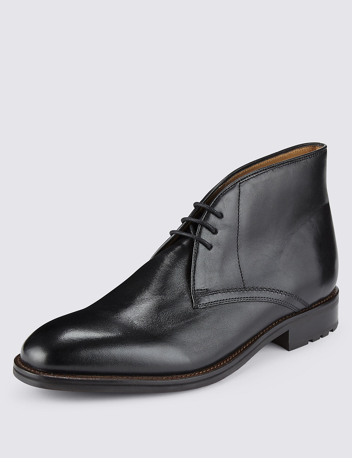 M&S Collection Luxury Leather Laceup Chukka Boots