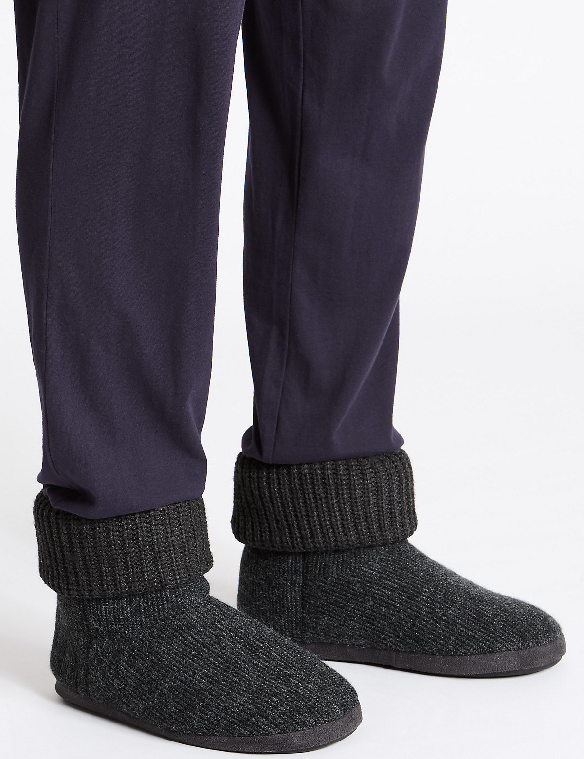 M&S Collection Knitted Slip-on Boots with Freshfeet