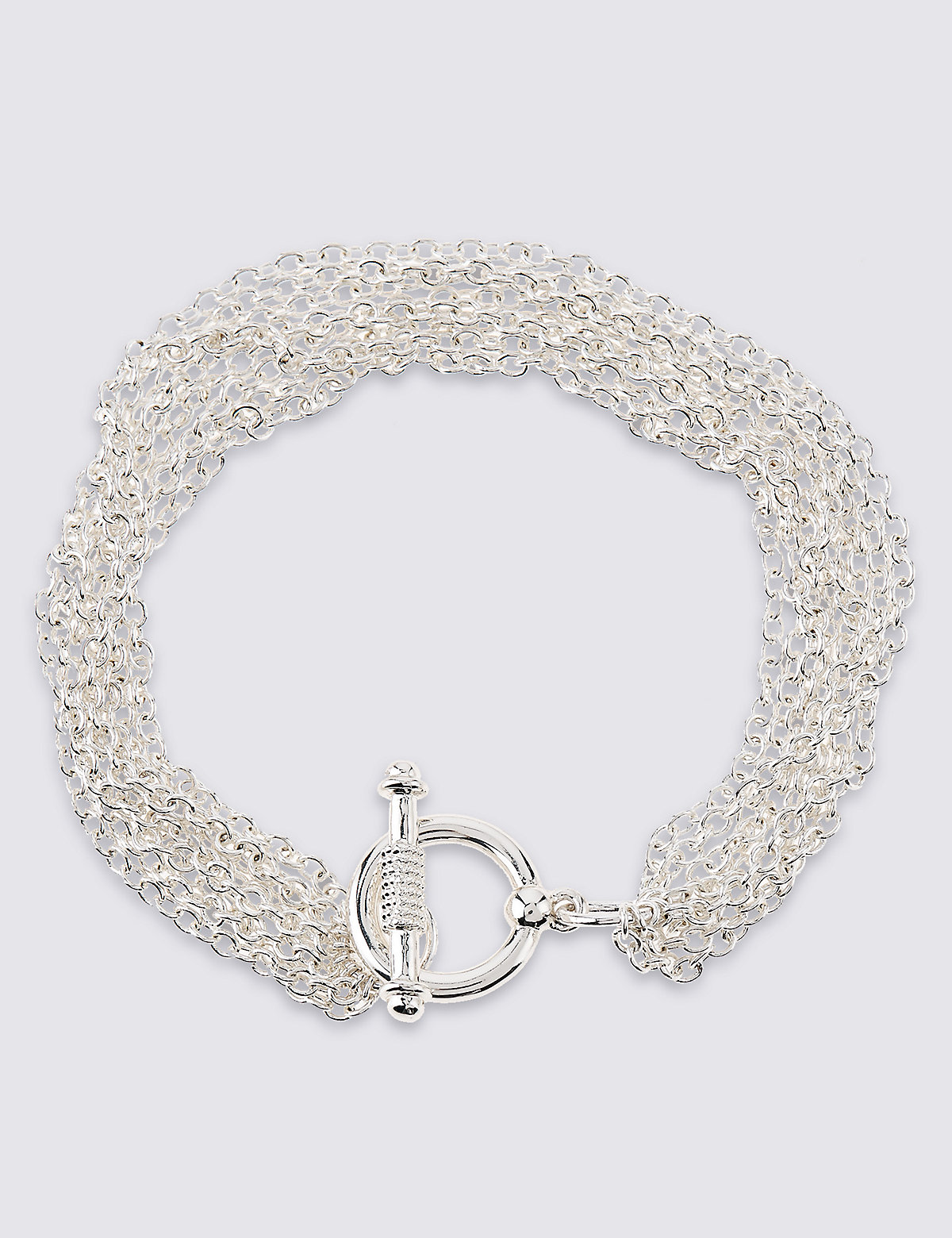 M&S Collection Silver Plated Multi Chain Bracelet