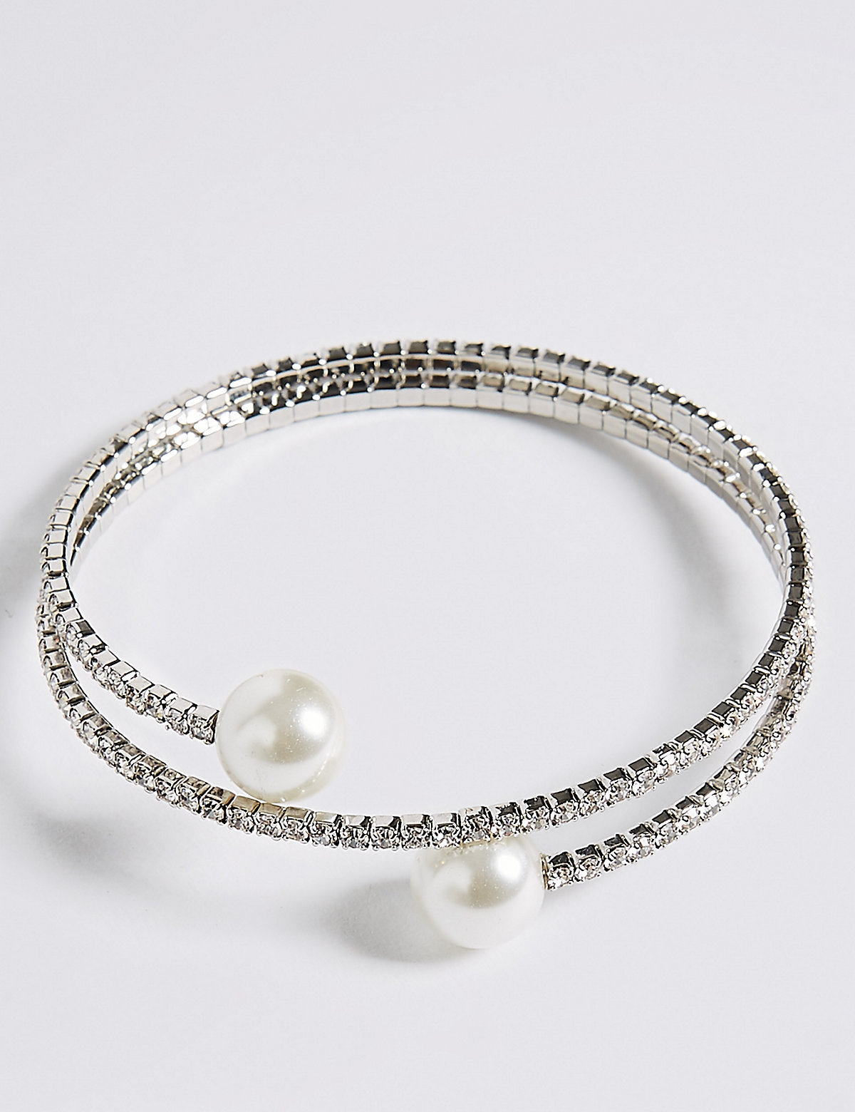 M&S Collection Pearl Effect Coil Cuff Bracelet