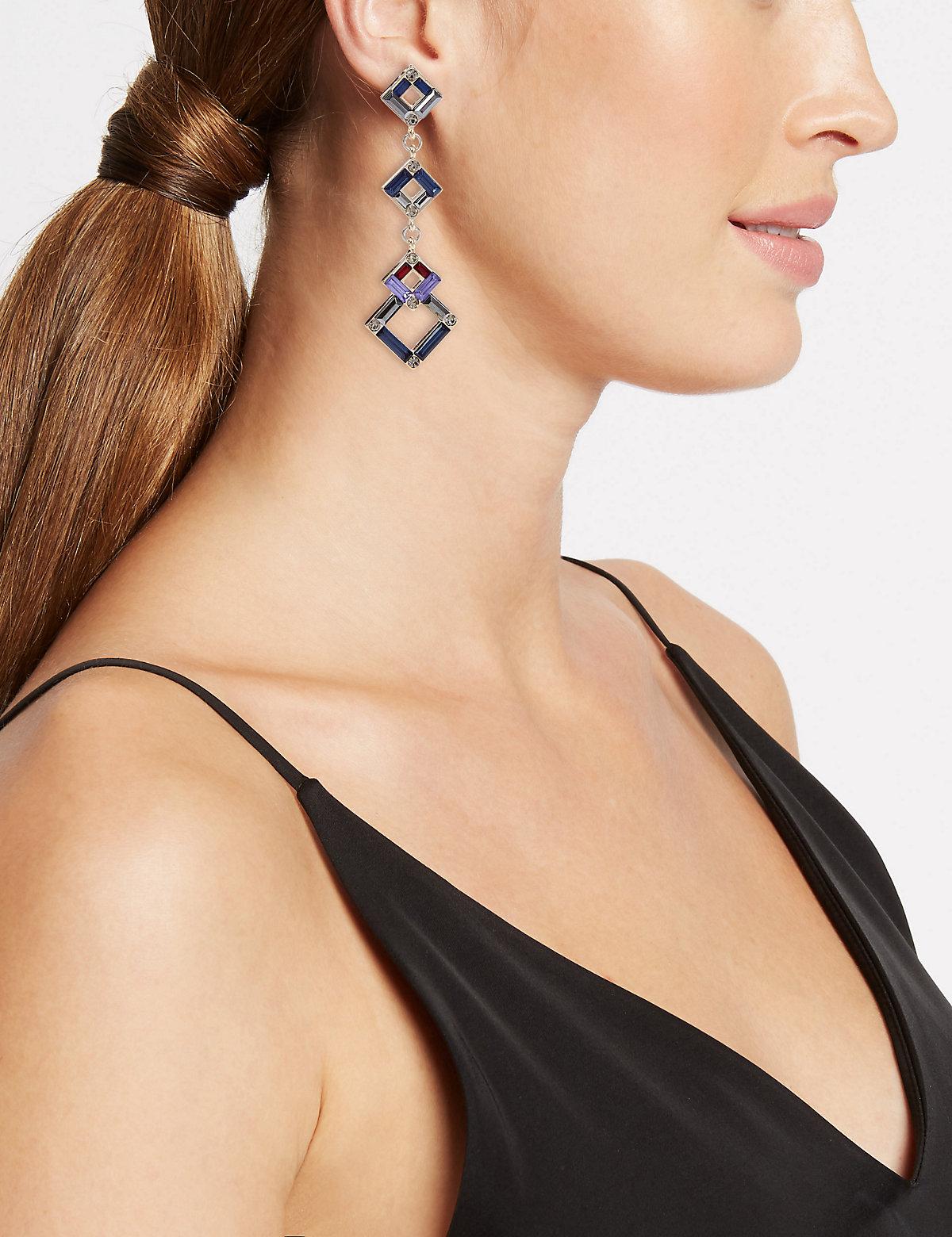 M&S Collection Baguette Square Drop Earrings