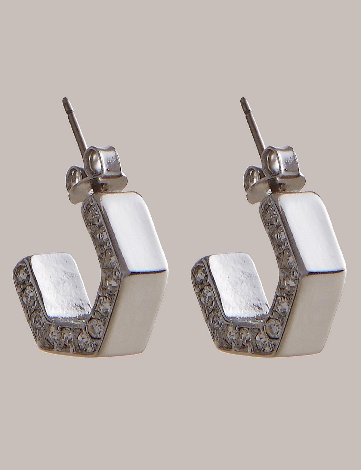 Autograph Mini Angular Diamanté Hoop Earrings