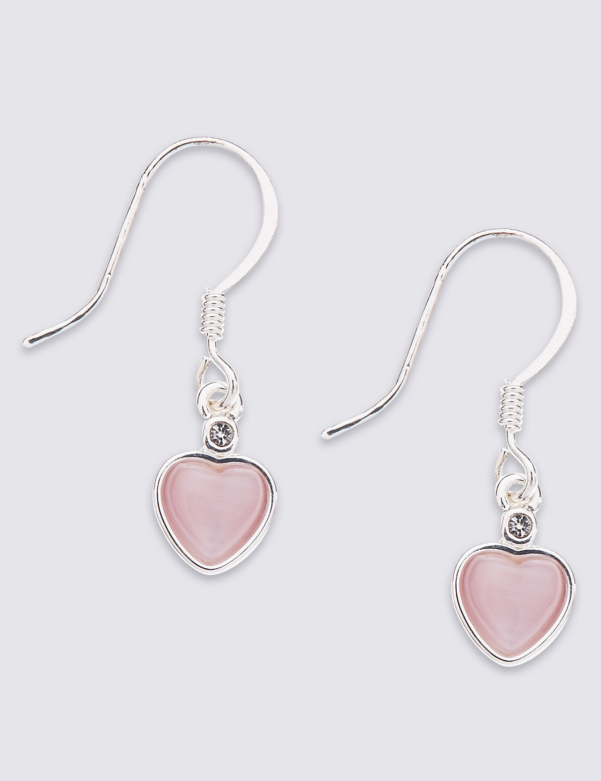M&S Collection Silver Plated Heart Drop Earrings