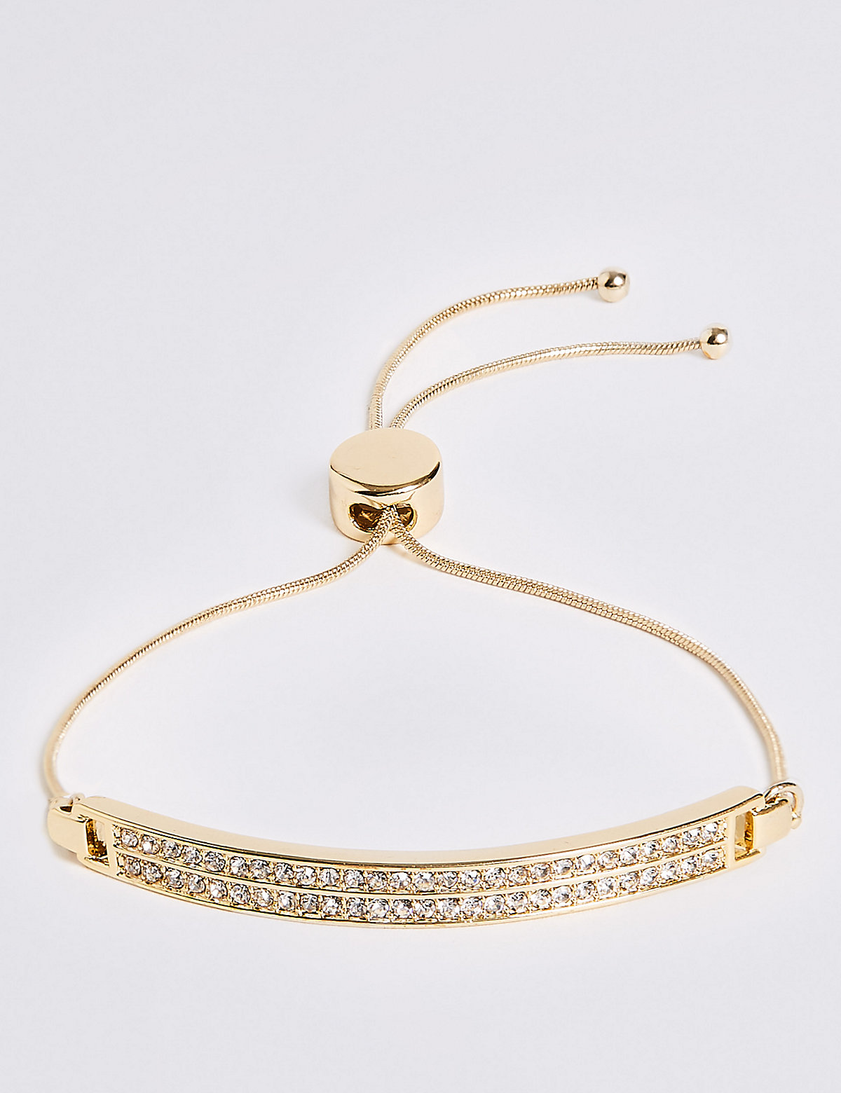 M&S Collection Gold Plated Pave Bar Bracelet