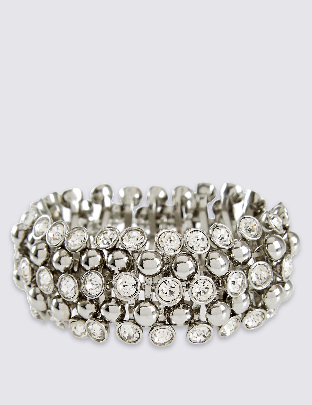 M&S Collection Diamanté Sparkle Gem Stretch Bracelet