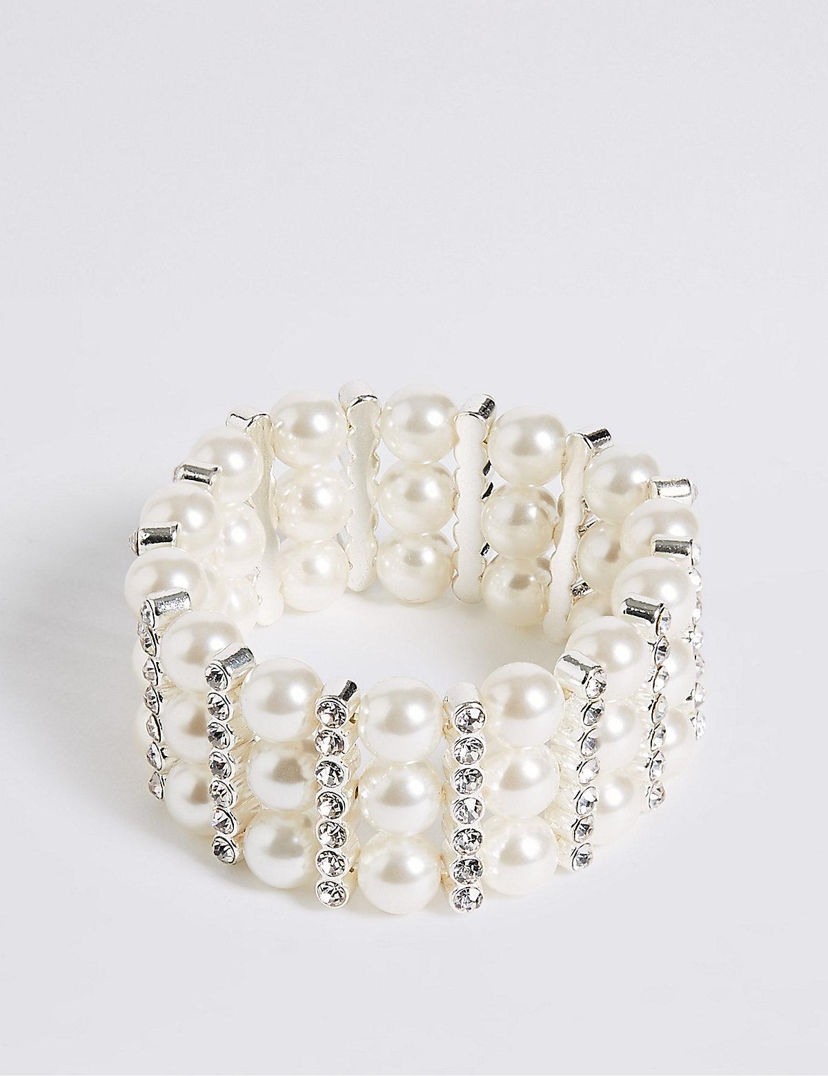 M&S Collection Pearl Effect Diamanté Stretch Bracelet
