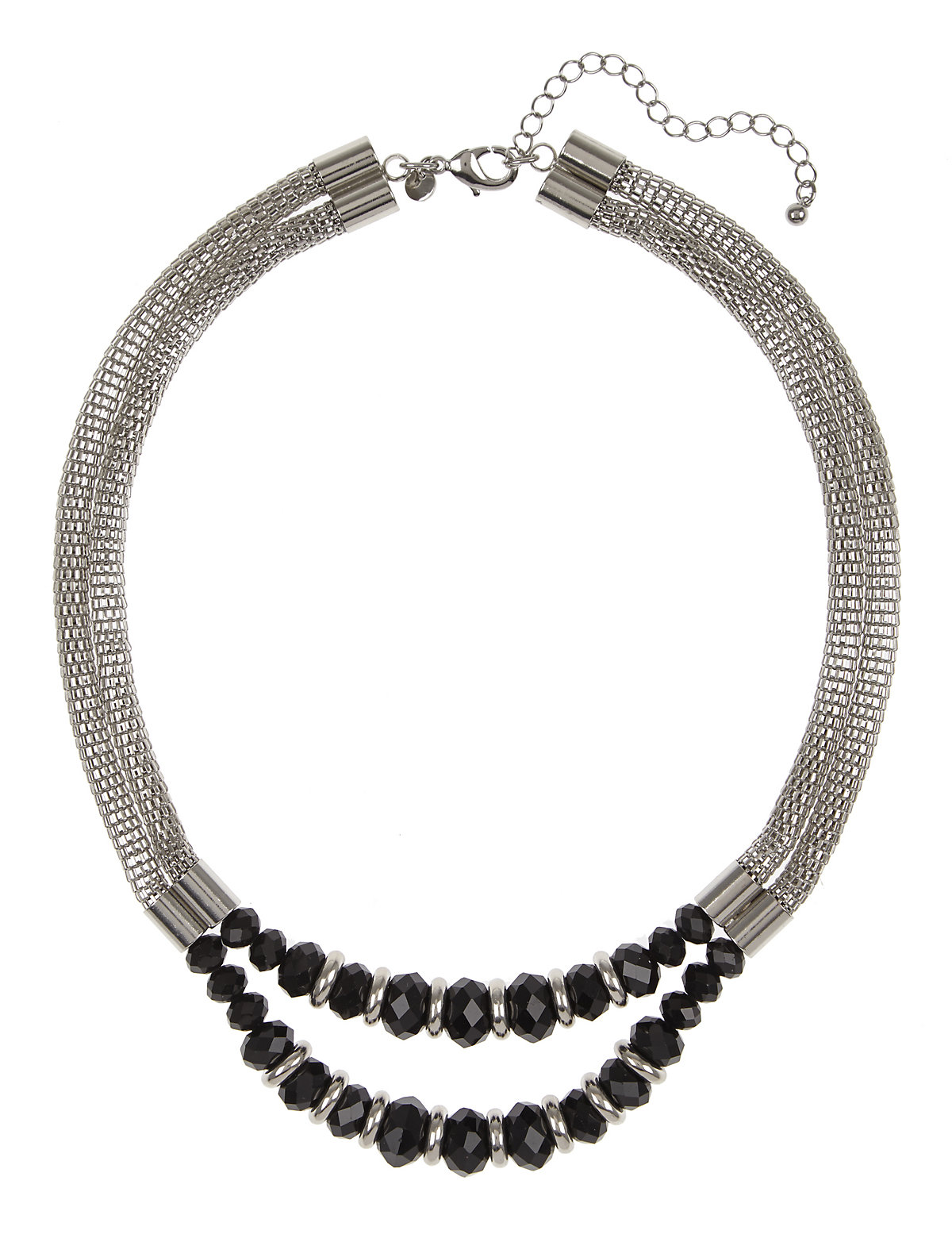 Two Row Multi Faceted Ring Bead Necklace Grey One Size