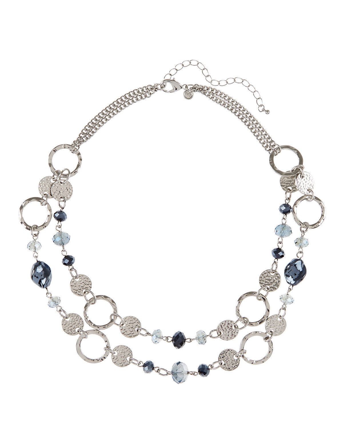 Assorted Bead Disc Link Necklace Blue One Size