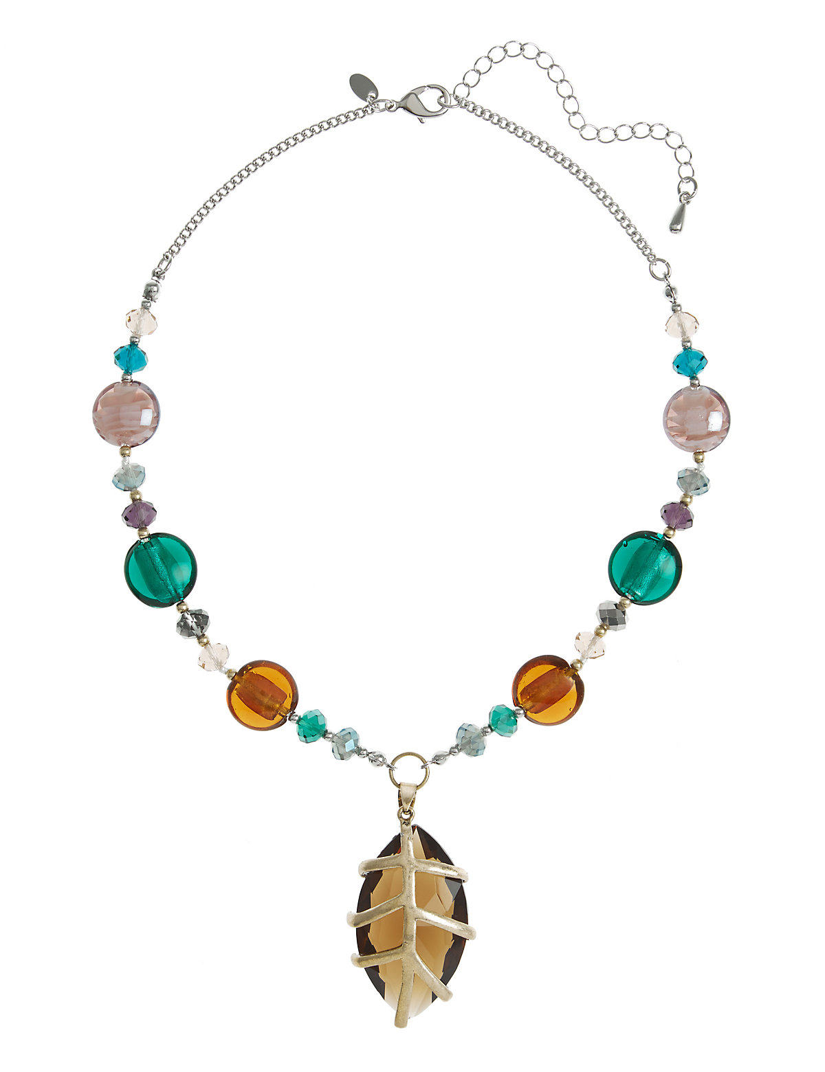 Cage Leaf Pendant Bead Necklace Multi Coloured One Size