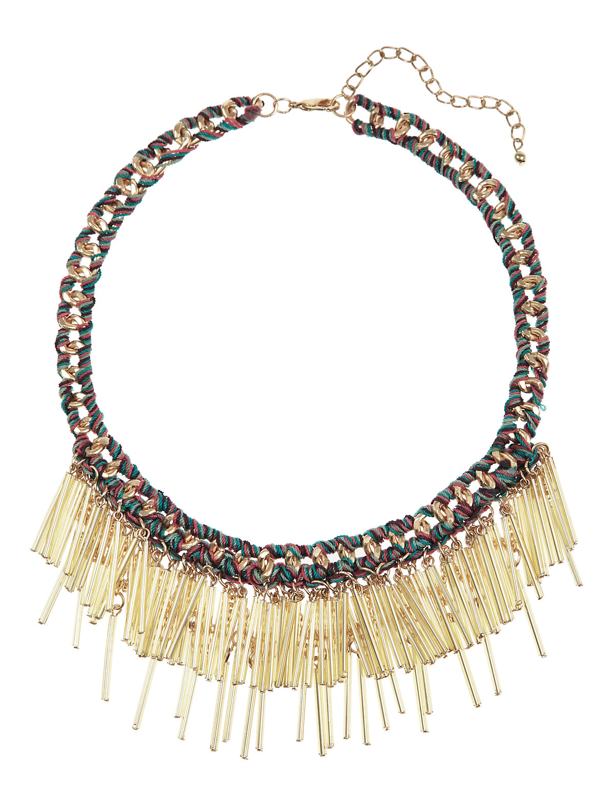 Bugle Bead Corded Necklace Cream One Size