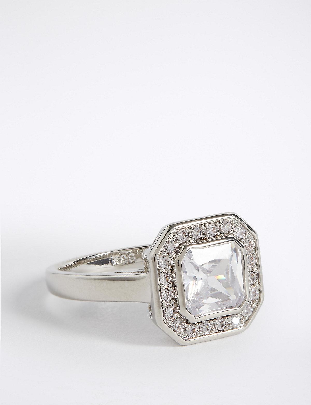 M&S Collection Platinum Plated Diamanté Square Ring
