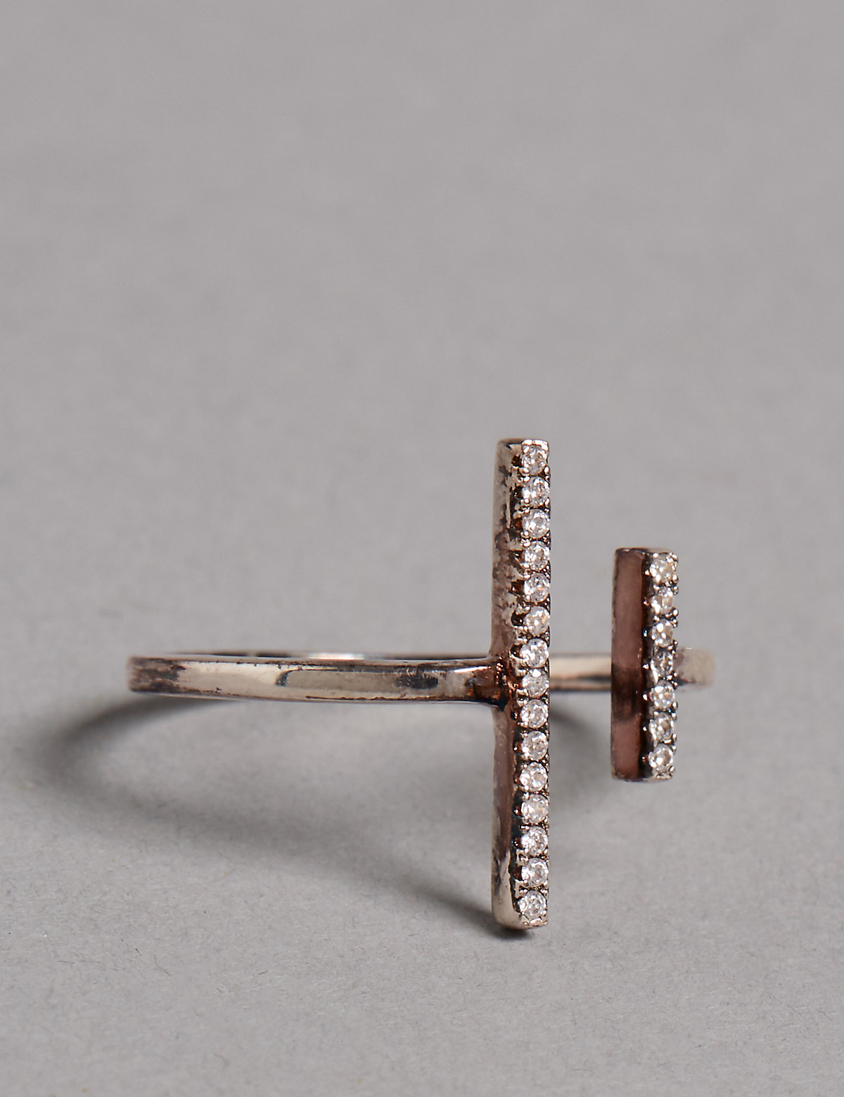 Autograph Sterling Silver Double Bar Ring
