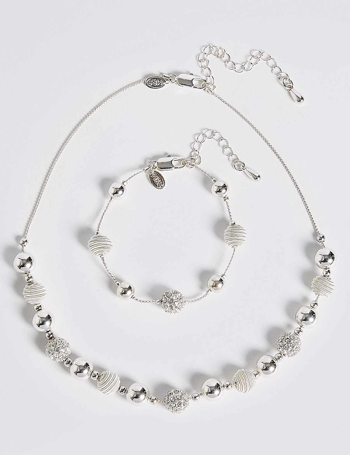 M&S Collection Silver Plated Sandblast Sandblast Necklace & Bracelet Set