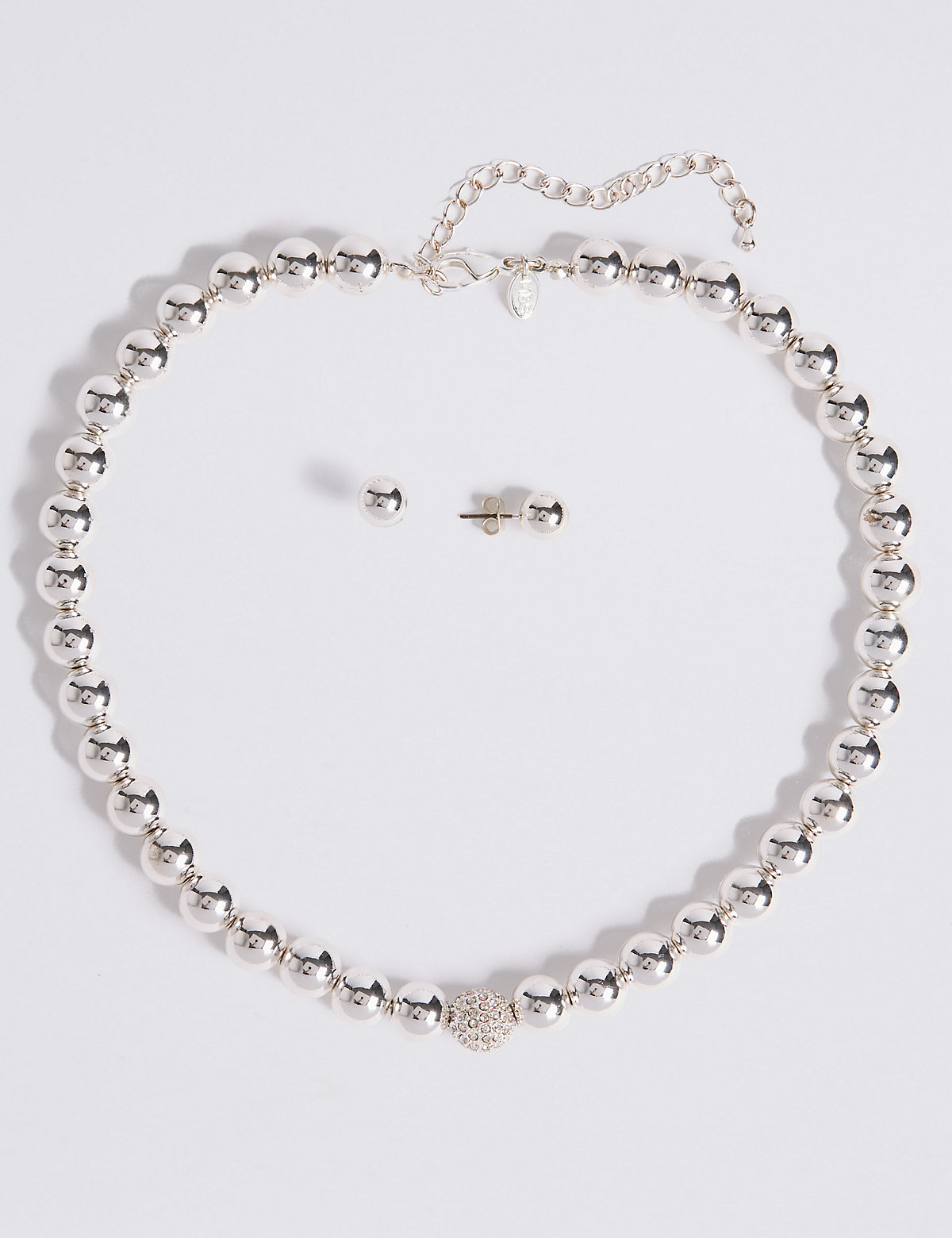 M&S Collection Silver Plated Sparkle Diamanté Necklace & Earrings Set