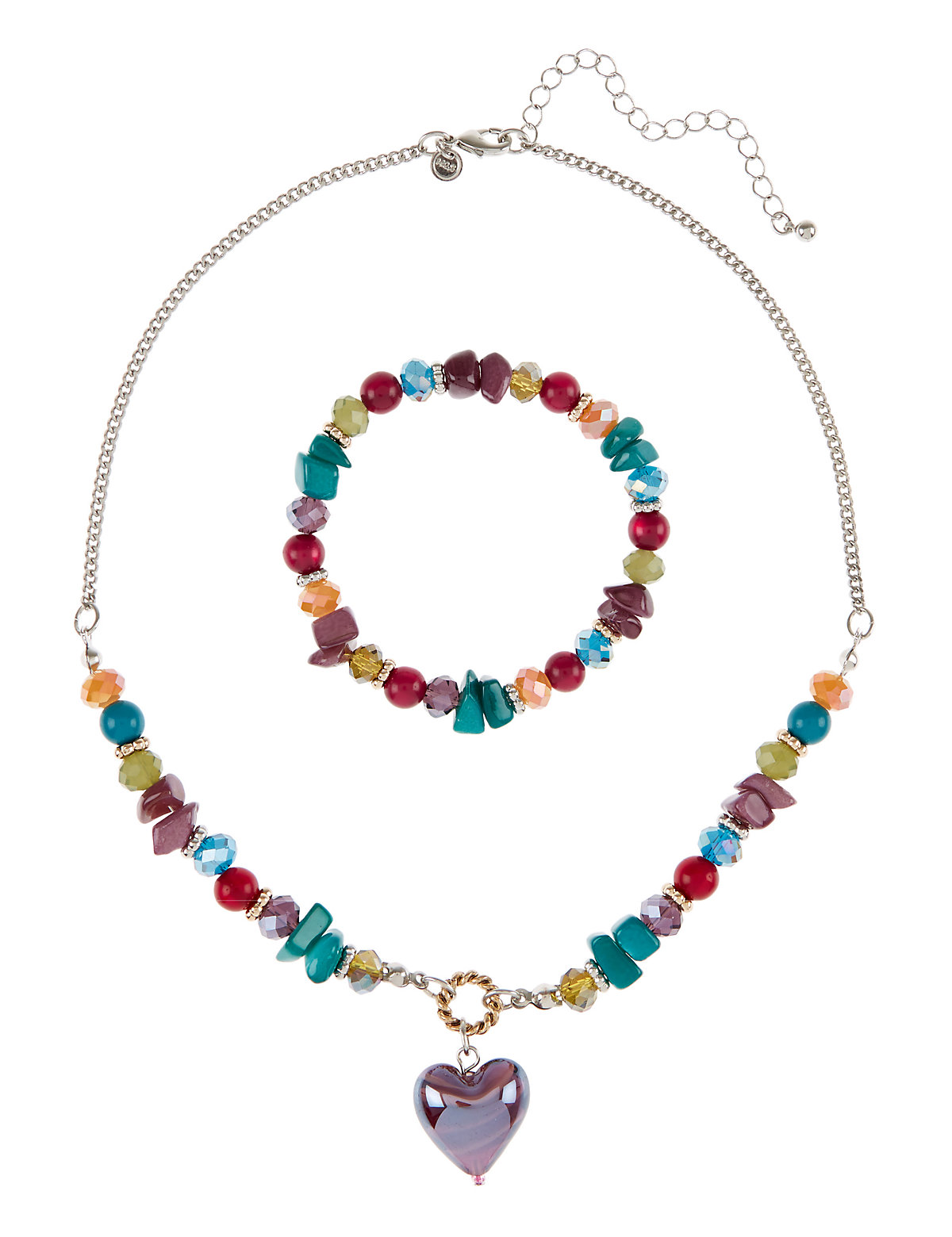 Assorted Bead Heart Pendant Necklace Bracelet Set Multi Coloured One Size