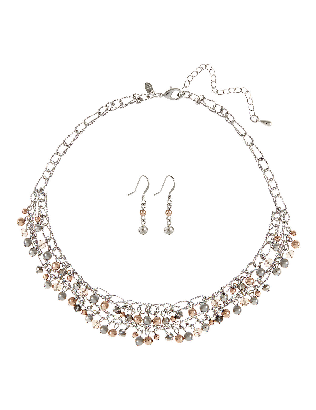 Bead Mini Twisted Necklace Earrings Set Grey One Size
