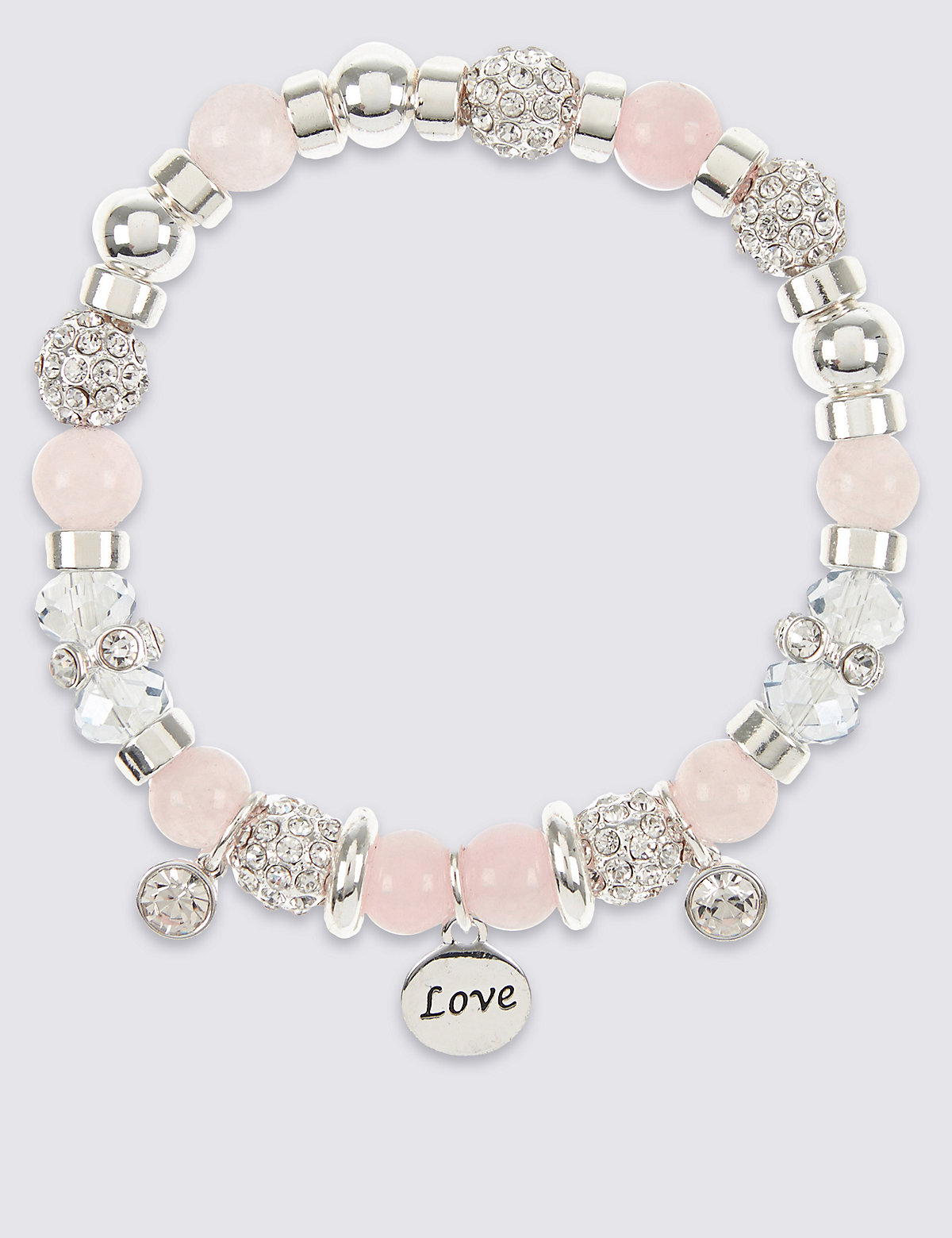 M&S Collection Sparkle Heart Charm Stretch Bracelet