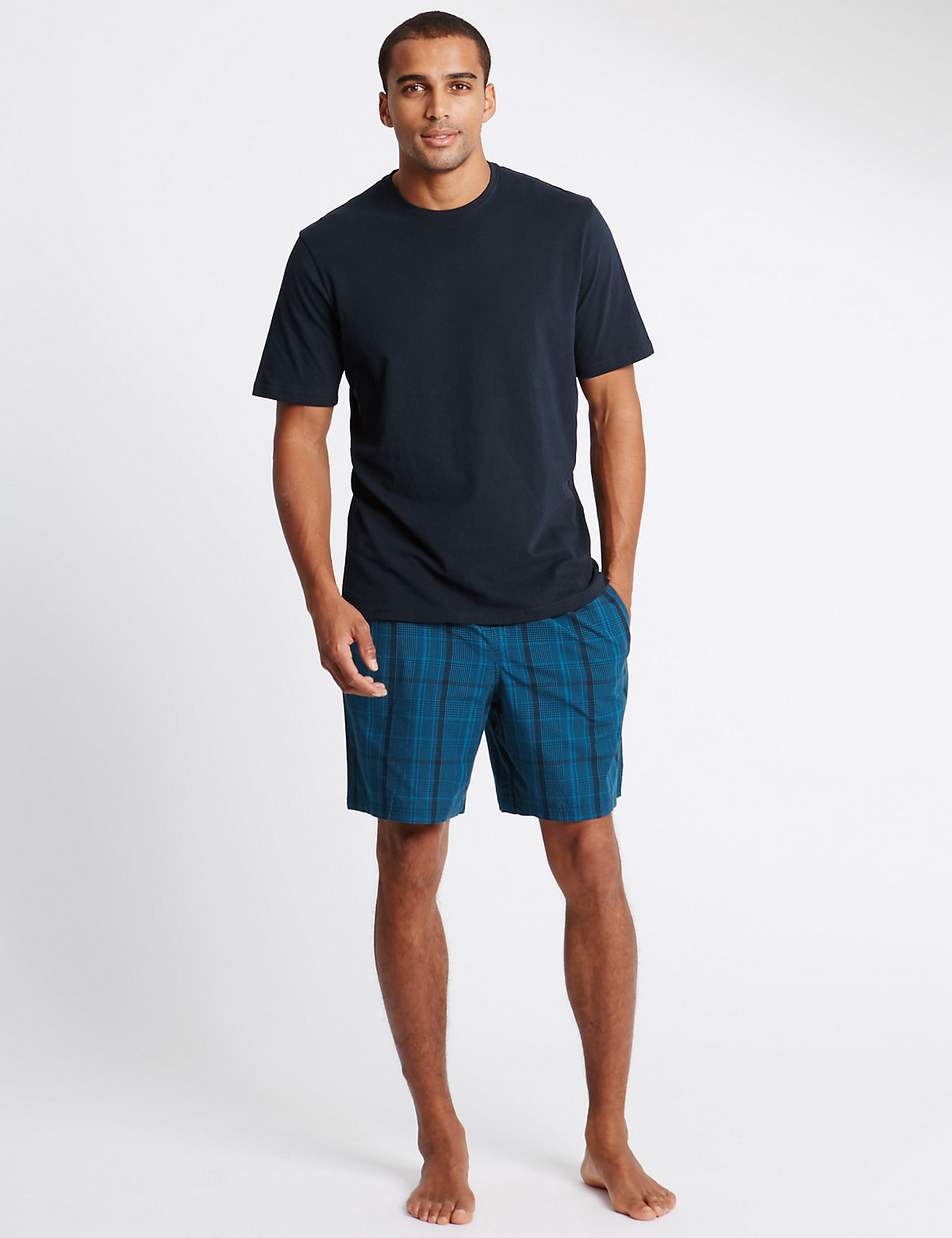 Image of M&S Collection Pure Cotton Teal Checked T-Shirt & Shorts Set