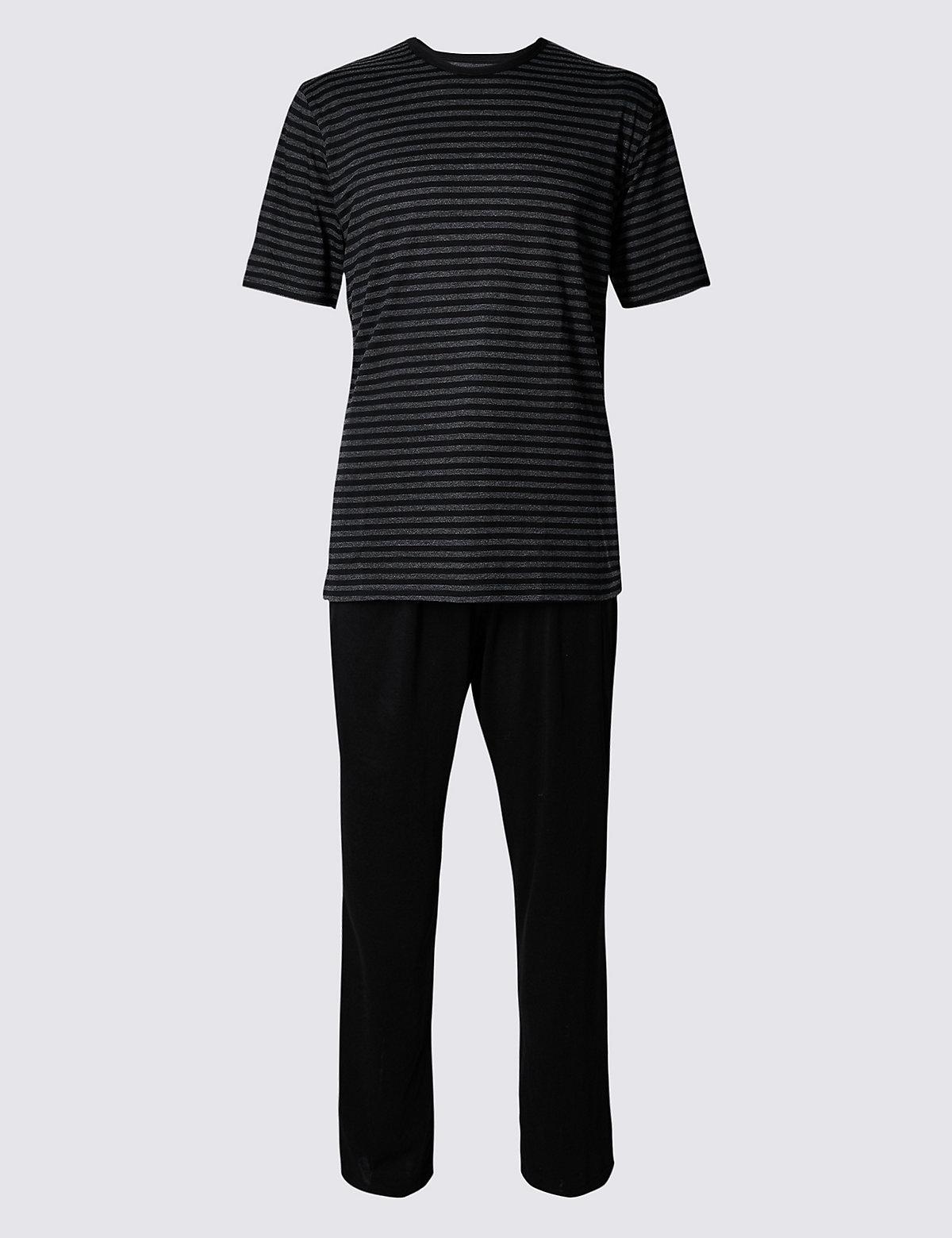 M&S Collection Cotton Rich Striped Pyjama Set