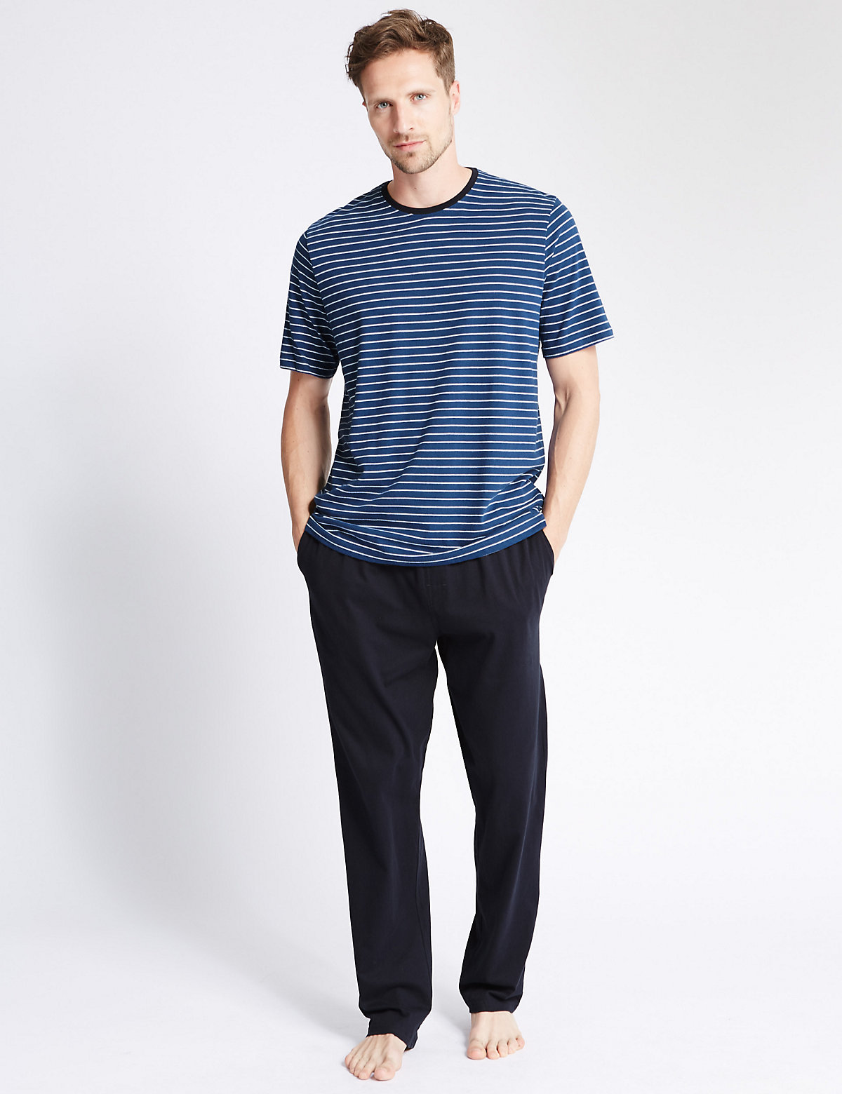 M&S Collection Pure Cotton Tonal Nautical Striped TShirt & Trousers Set