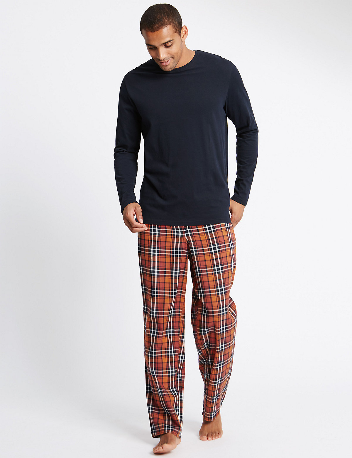 Image of M&S Collection Pure Cotton Orange Checked Navy T-Shirt & Trouser Set
