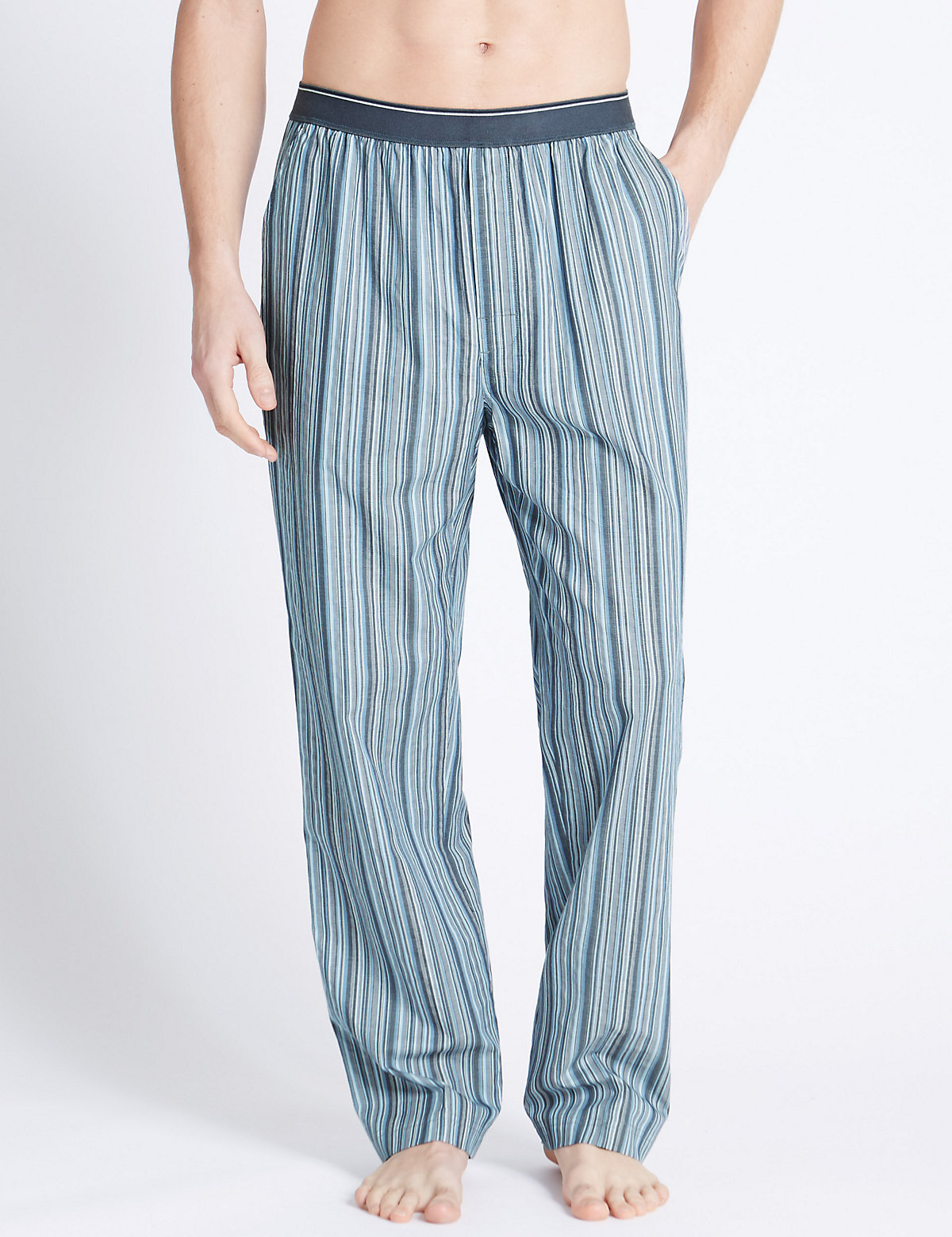 M&S Collection Pure Cotton Striped Long Pyjama Bottoms