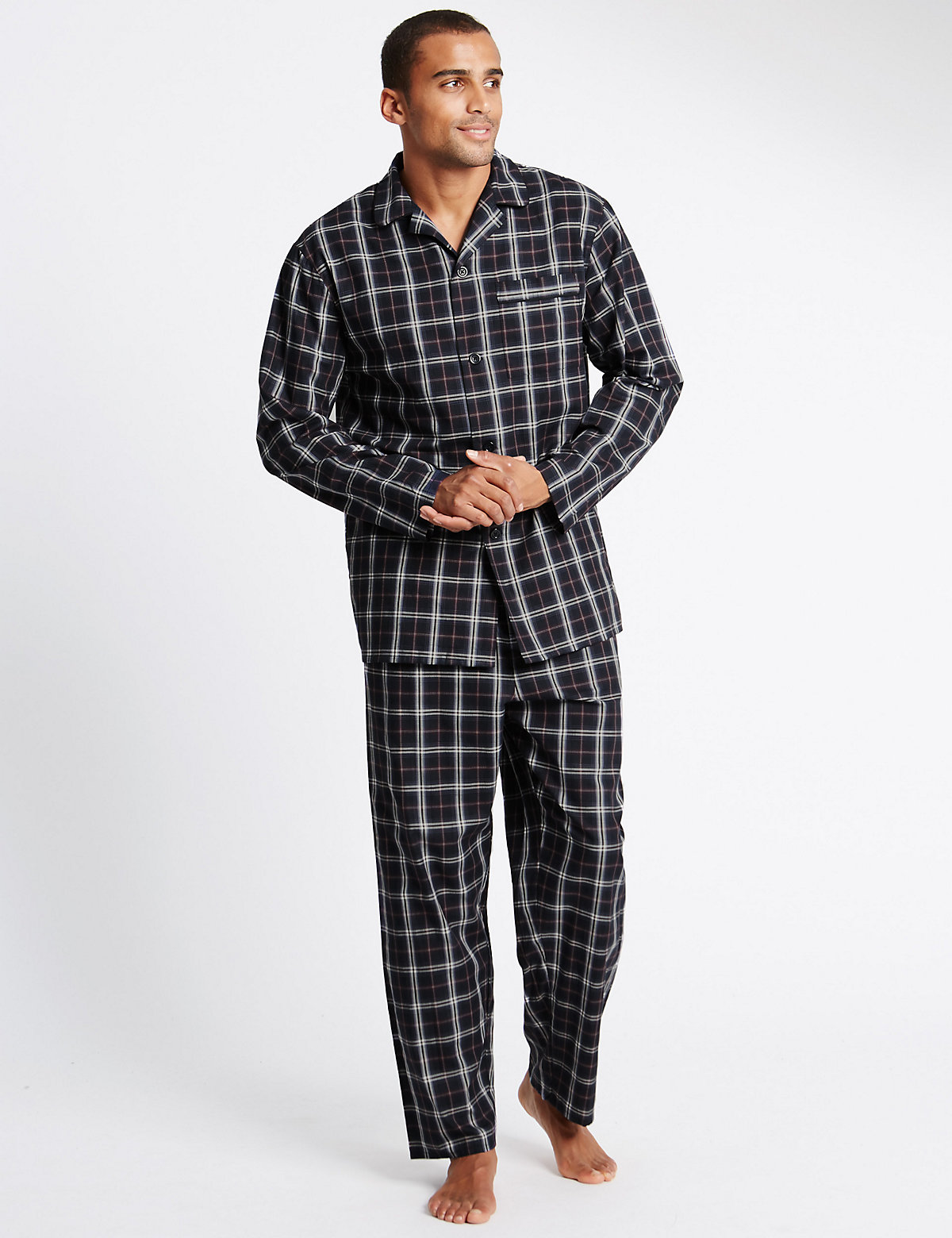 Image of M&S Collection Pure Cotton Checked Classic Pyjamas