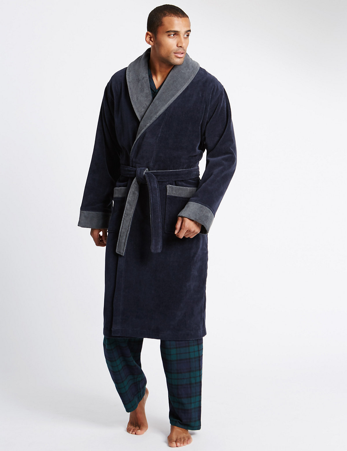 M&S Collection Pure Cotton Velour Luxury Two Tone Dressing Gown