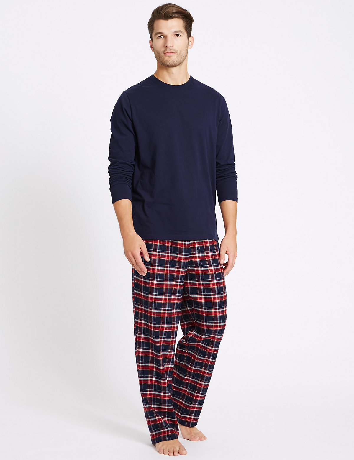 M&S Collection 2in Longer Pure Cotton Checked Pyjamas