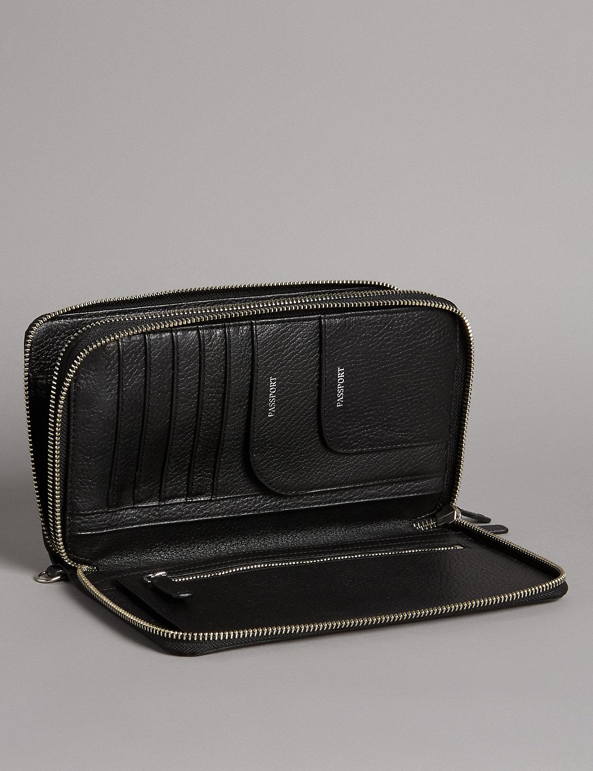 Autograph Luxury Leather Double Travel Wallet