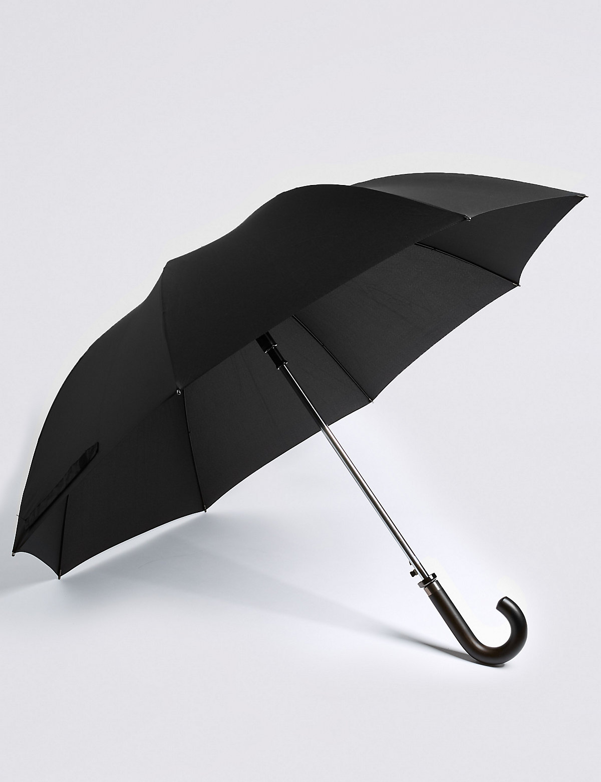 M&S Collection Showerproof Automatic Wooden Crook Handle Umbrella with FLEXITECH
