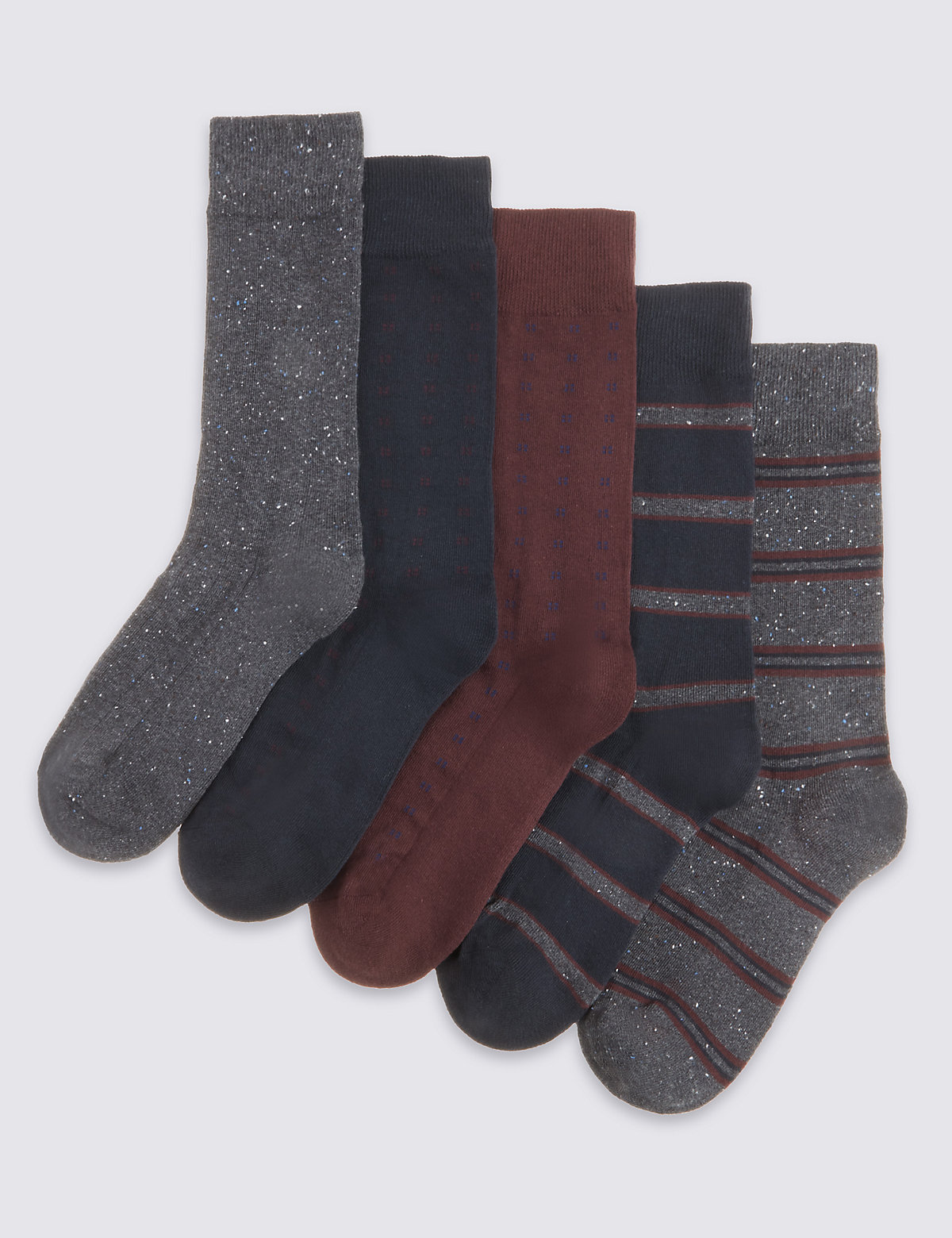 Image of 5 Pairs of Freshfeet Cotton Rich Socks