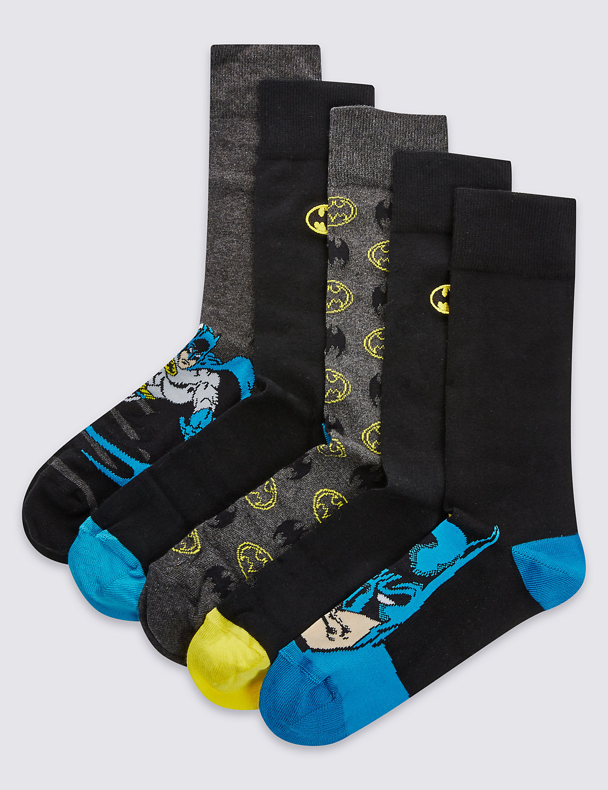 M&S Collection 5 Pairs of Cotton Rich Batman with Embroidered Socks