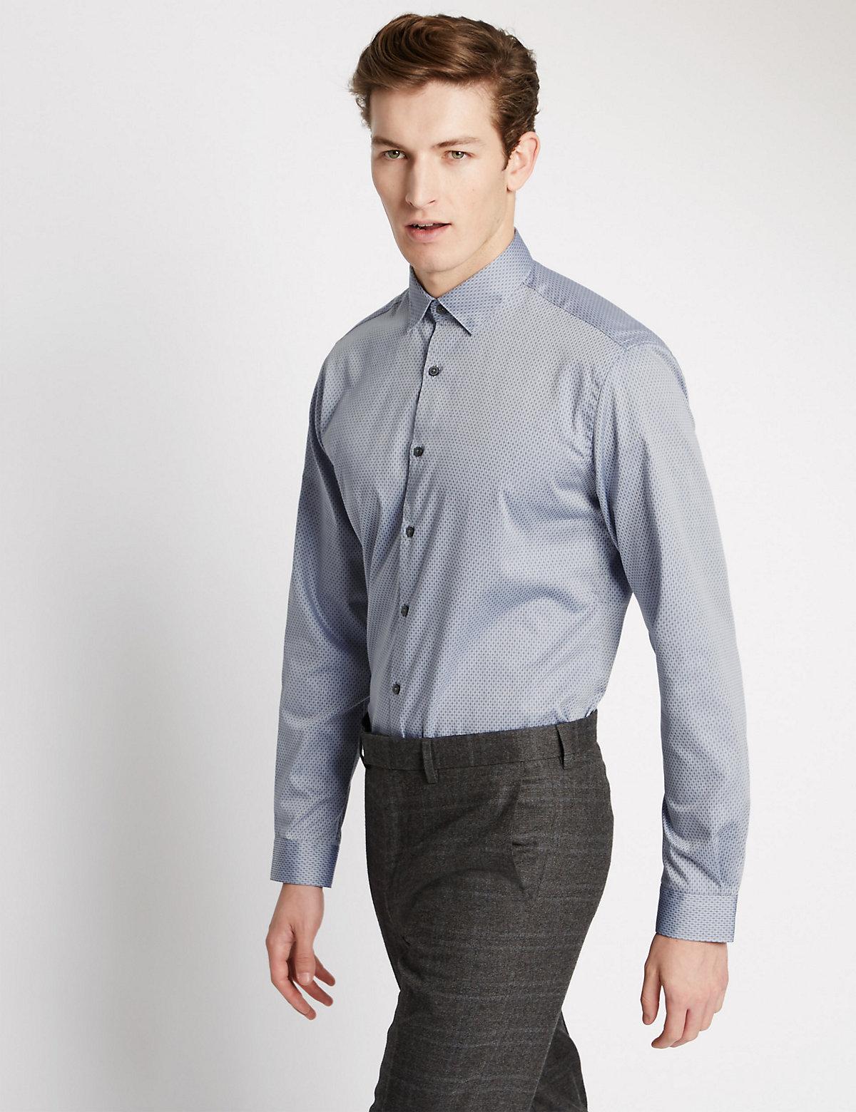 Image of Limited Edition Pure Cotton Diamond Dobby Print Shirt