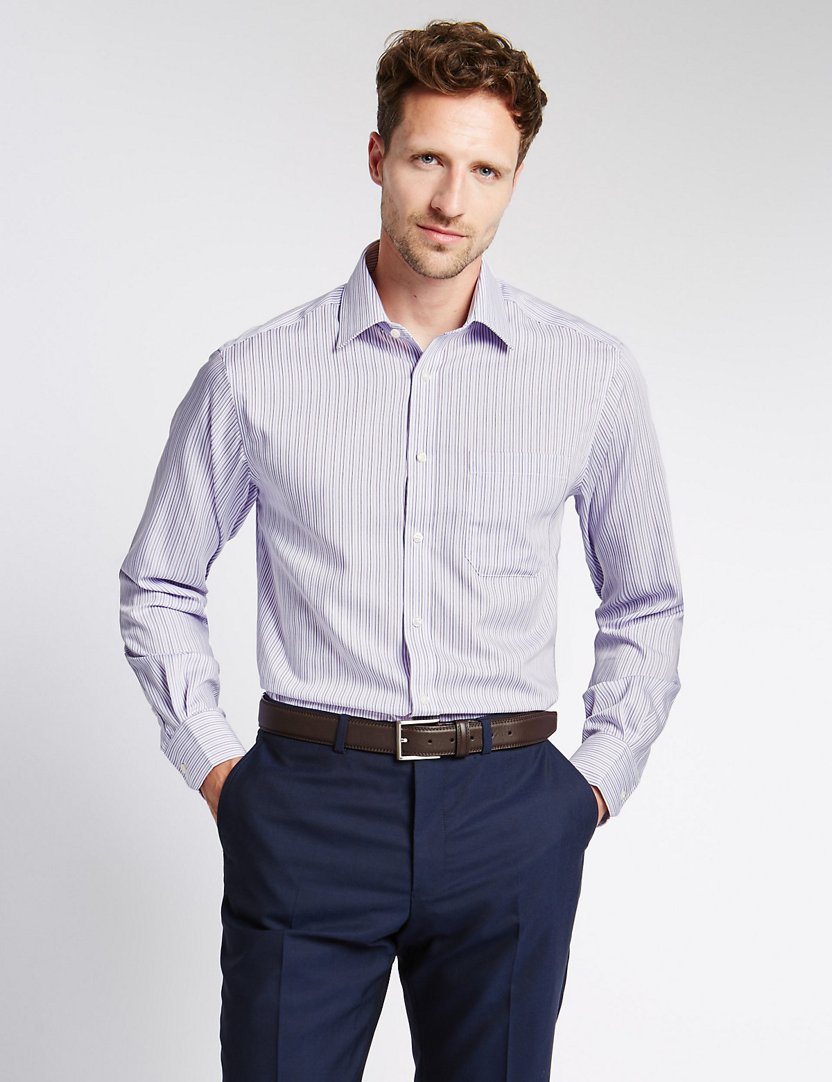 M&S Collection 2in Longer Pure Cotton Non-Iron Shirt