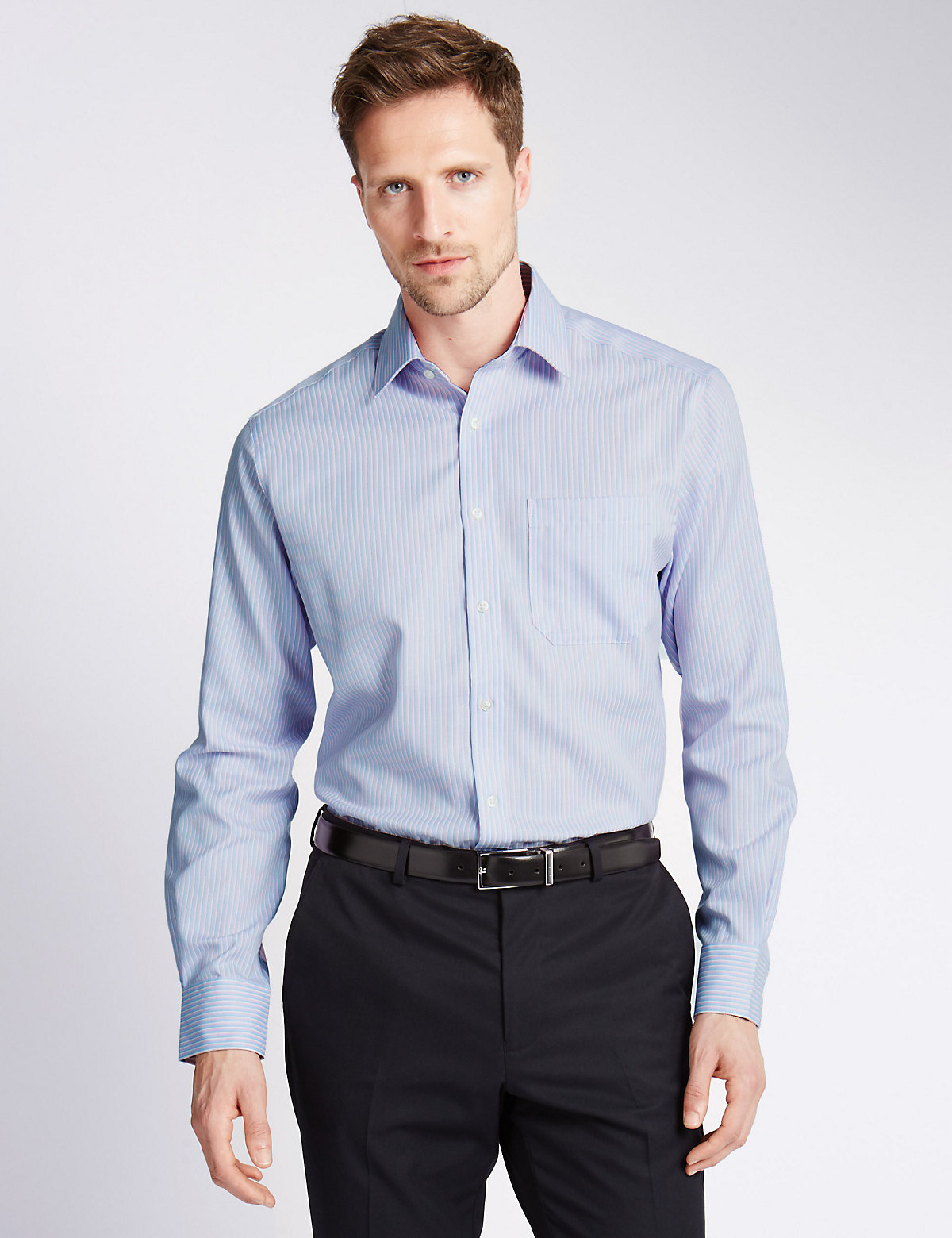 Image of M&S Collection Performance Pure Cotton Non-Iron Striped Shirt