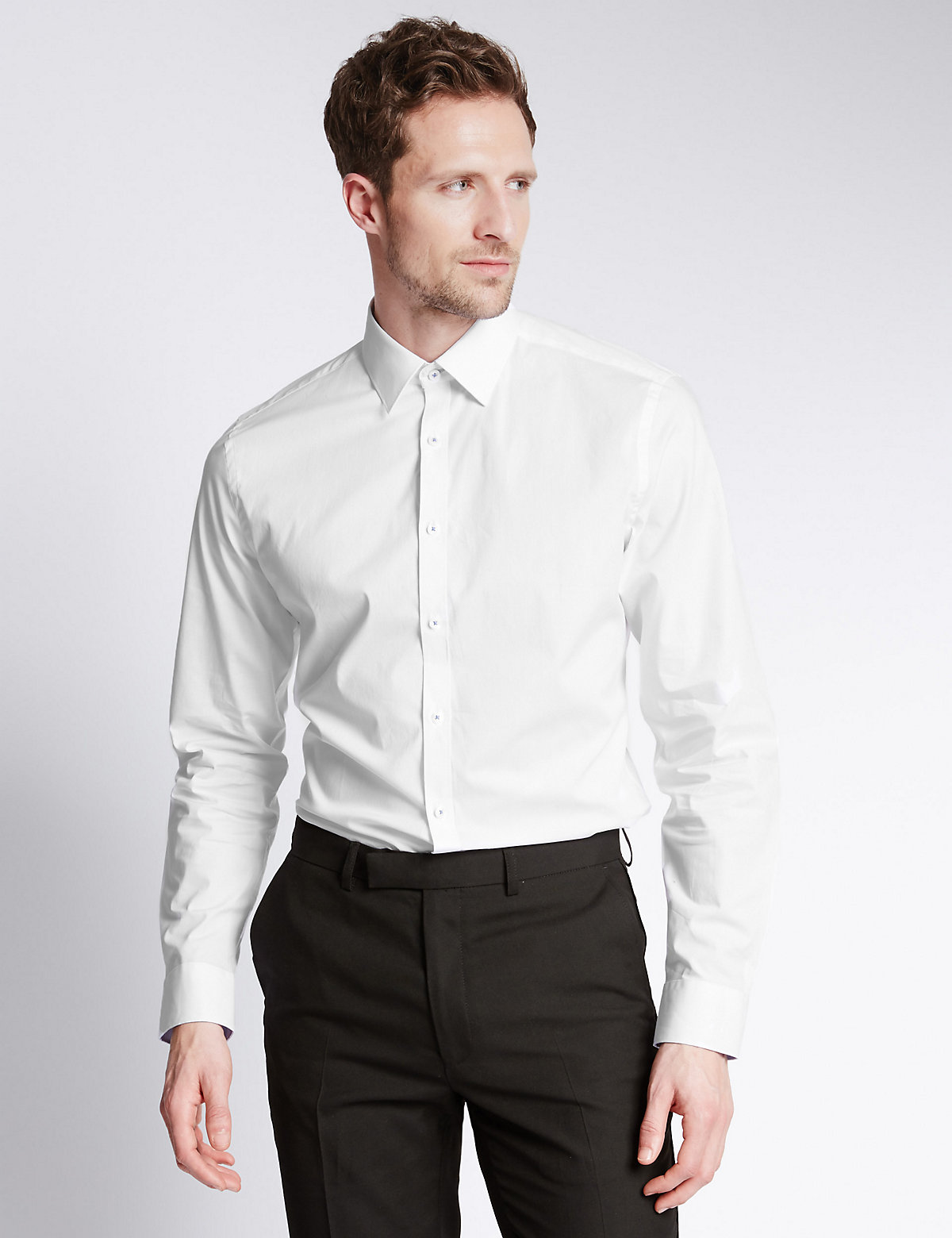 Image of Limited Edition Cotton Stretch Slim Fit Shirt with Subtle Contrast Trim