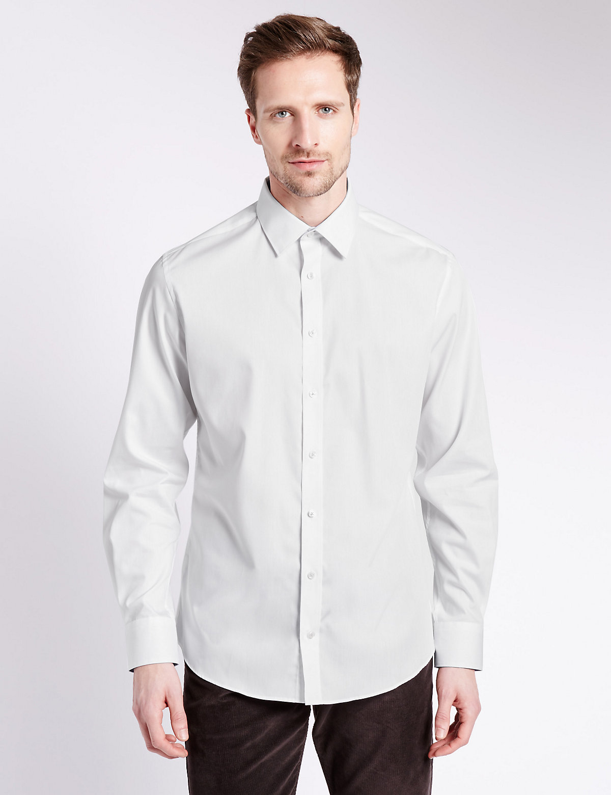 Image of Limited Edition Pure Cotton Tailored Fit Shirt with Contrast Trim