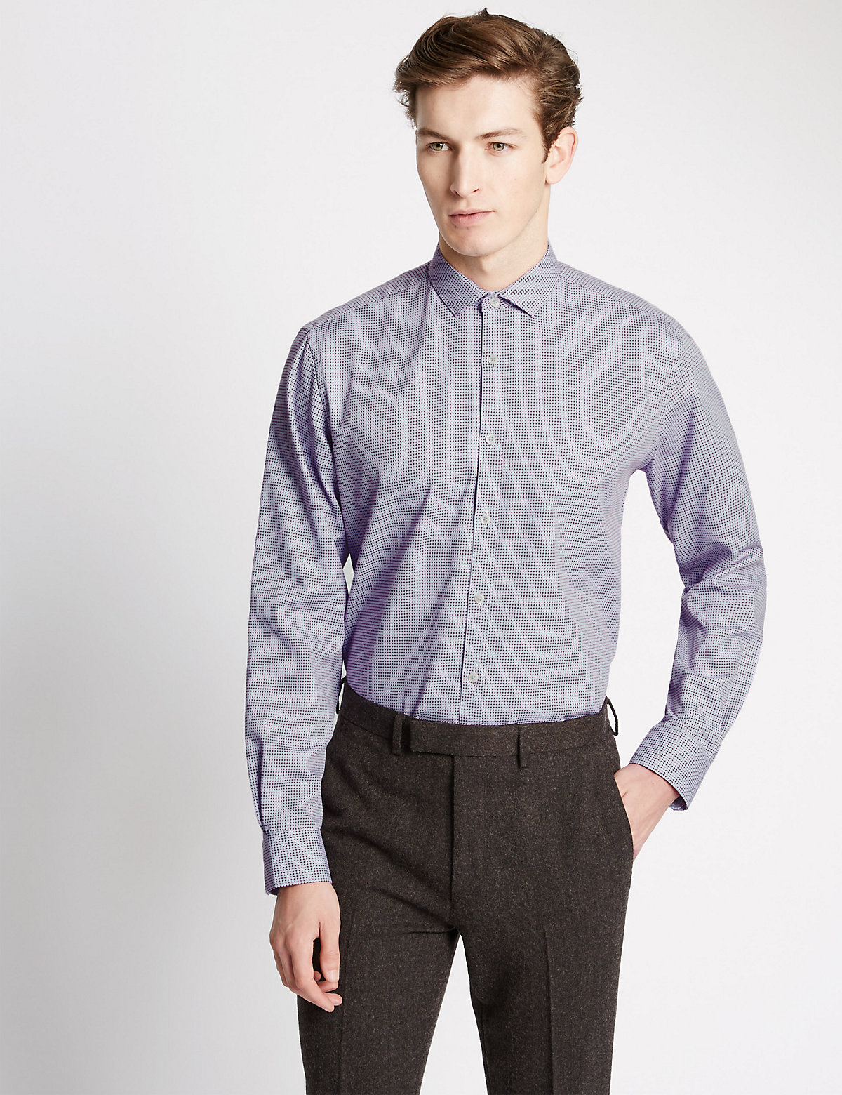Image of Limited Edition Cotton Rich Easy to Iron Tailored Fit Dobby Diamond Shirt