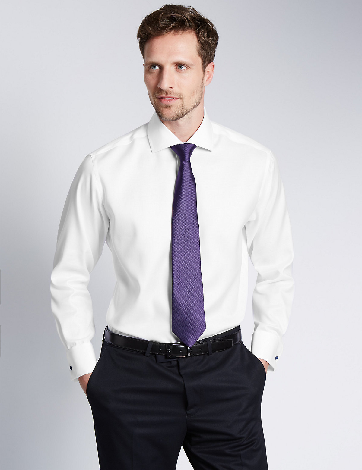 Image of M&S Collection Luxury 2in Longer Pure Cotton Ultimate Non-Iron Twill Shirt