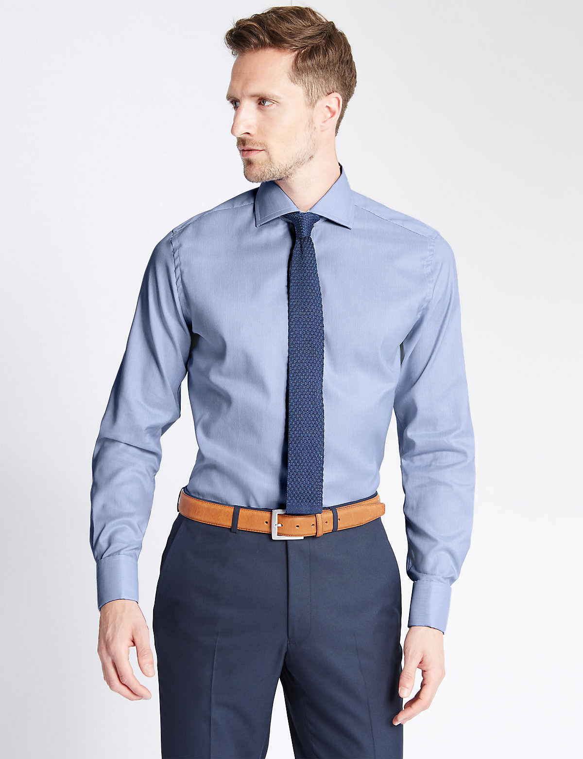 M&S Collection Luxury Pure Cotton Slim Fit Ribbed Shirt Image