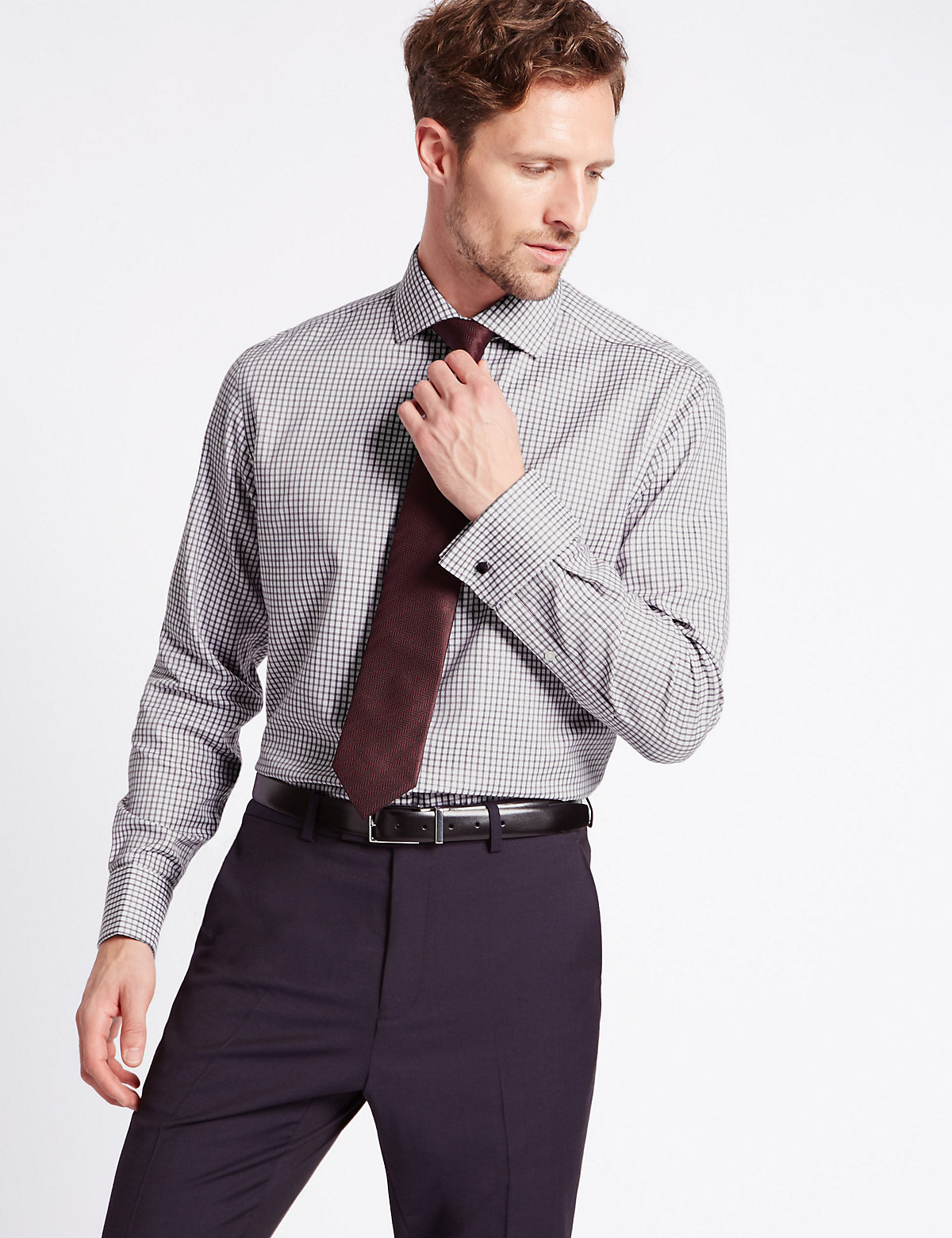 Image of M&S Collection Luxury Pure Cotton Non-Iron Checked Shirt