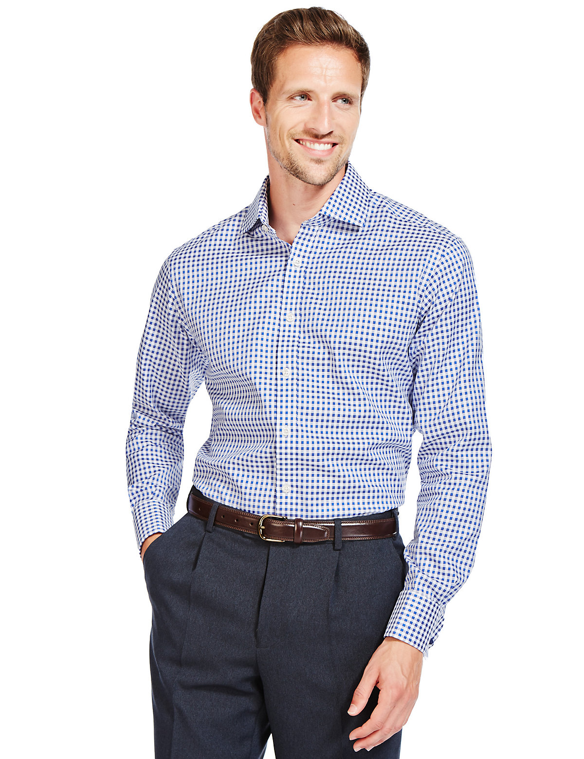 Image of M&S Collection Luxury Pure Cotton Cutaway Collar Checked Shirt