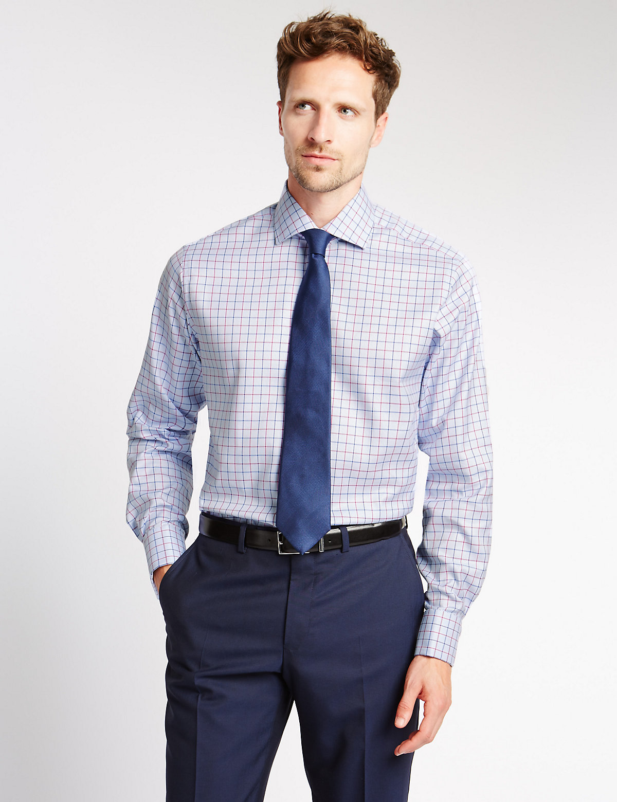 Image of M&S Collection Luxury Pure Cotton Checked Shirt
