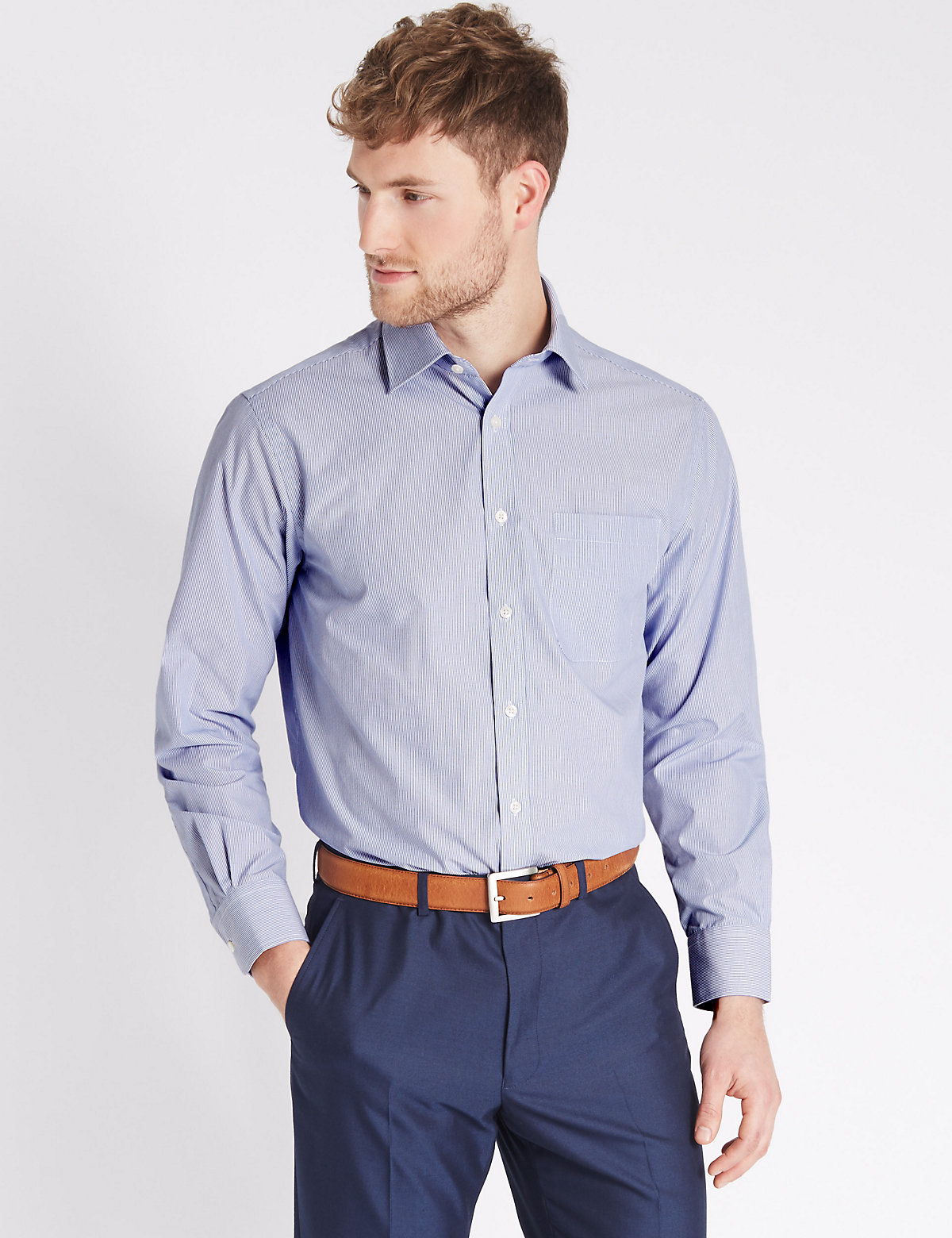 M&S Collection 2in Longer Cotton Rich Easy to Iron Shirt