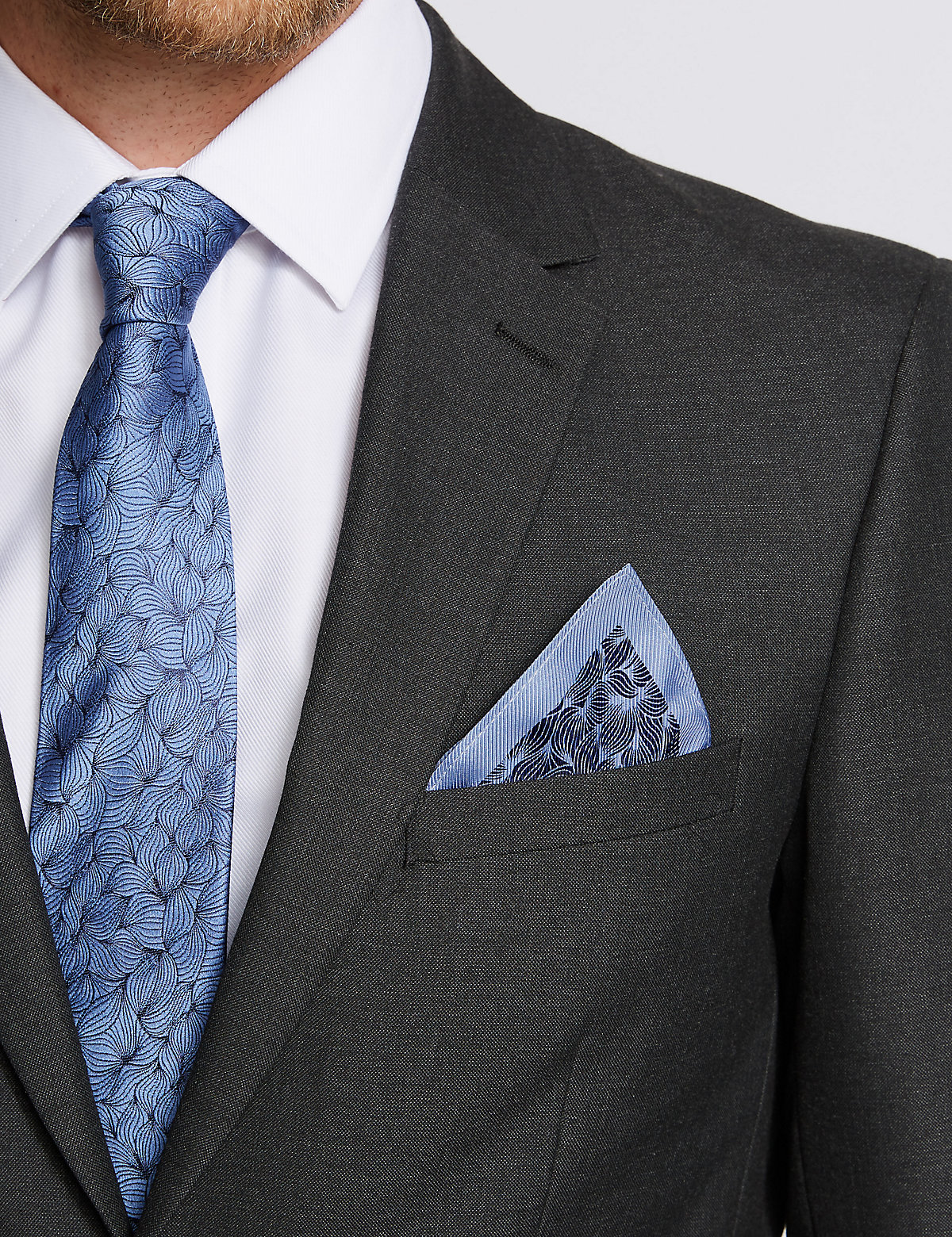 Image of Savile Row Inspired Pure Silk Leaf Motif Print Pocket Square