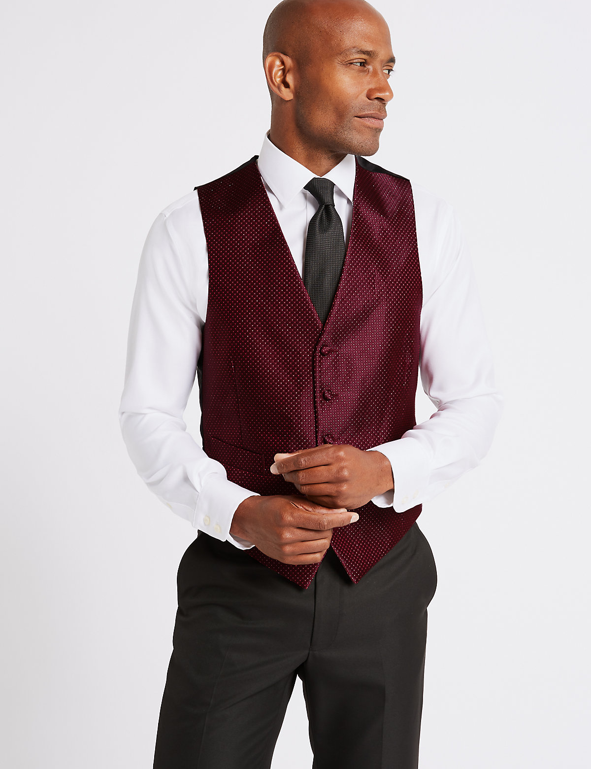 M&S Collection 5 Button Textured Waistcoat