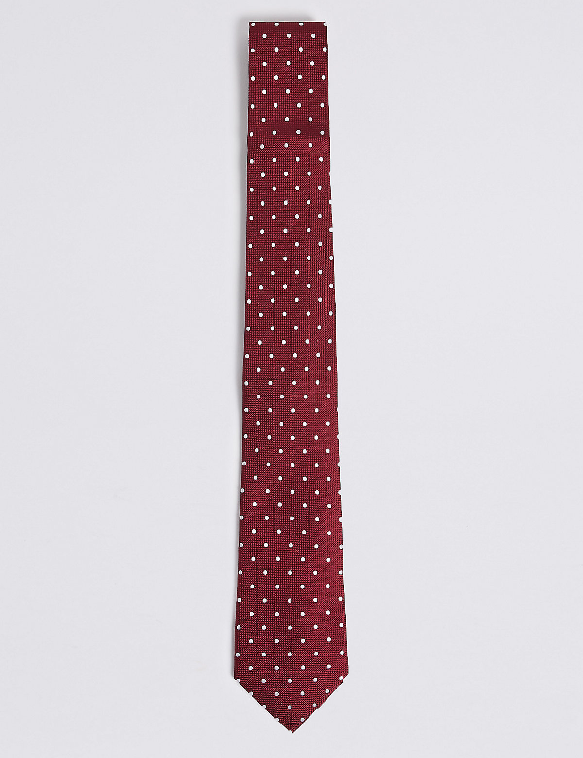 M&S Collection Pure Silk Spotted Tie & Pocket Square Set